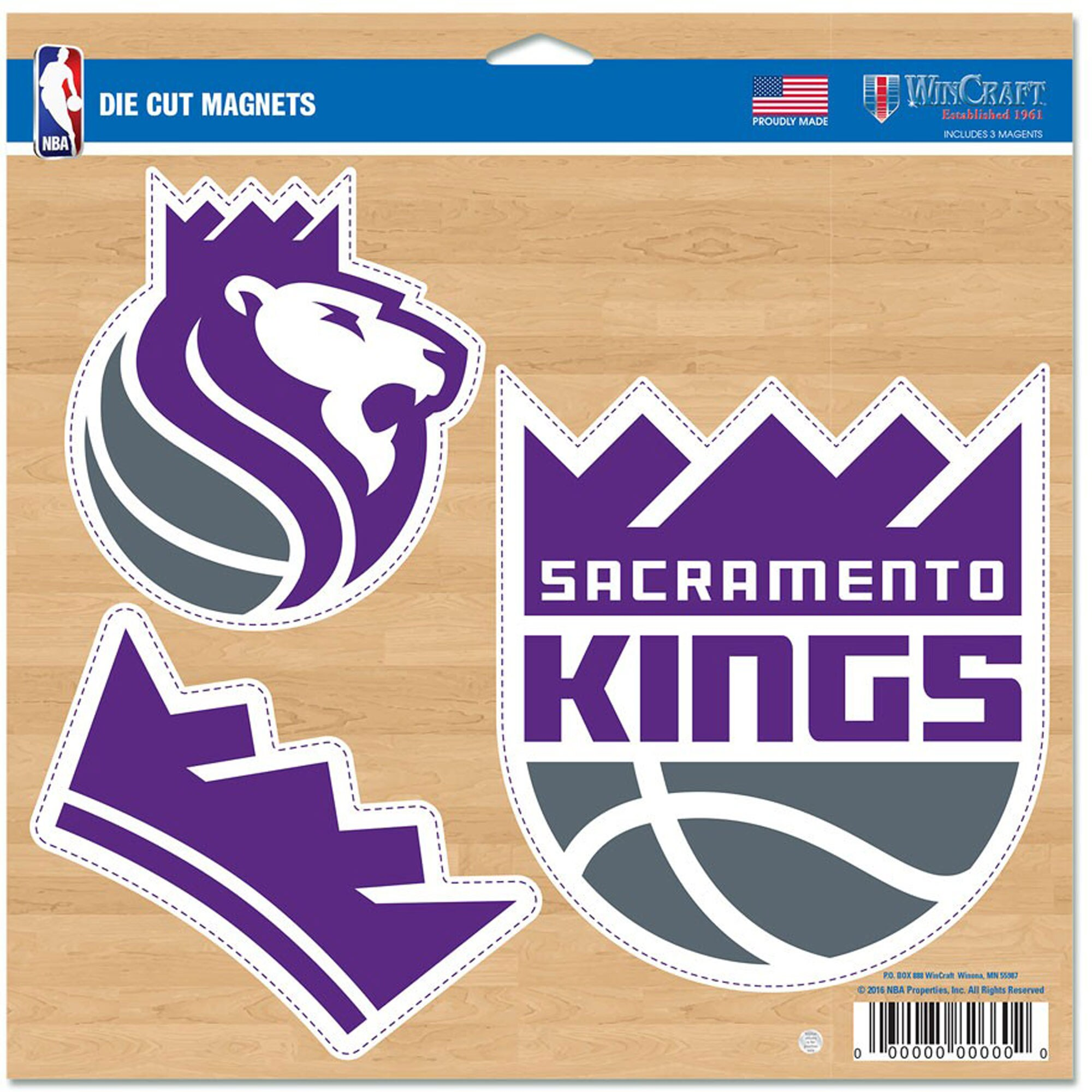 "Sacramento Kings WinCraft 11"" x 11"" 3-Pack Car Magnet Set"