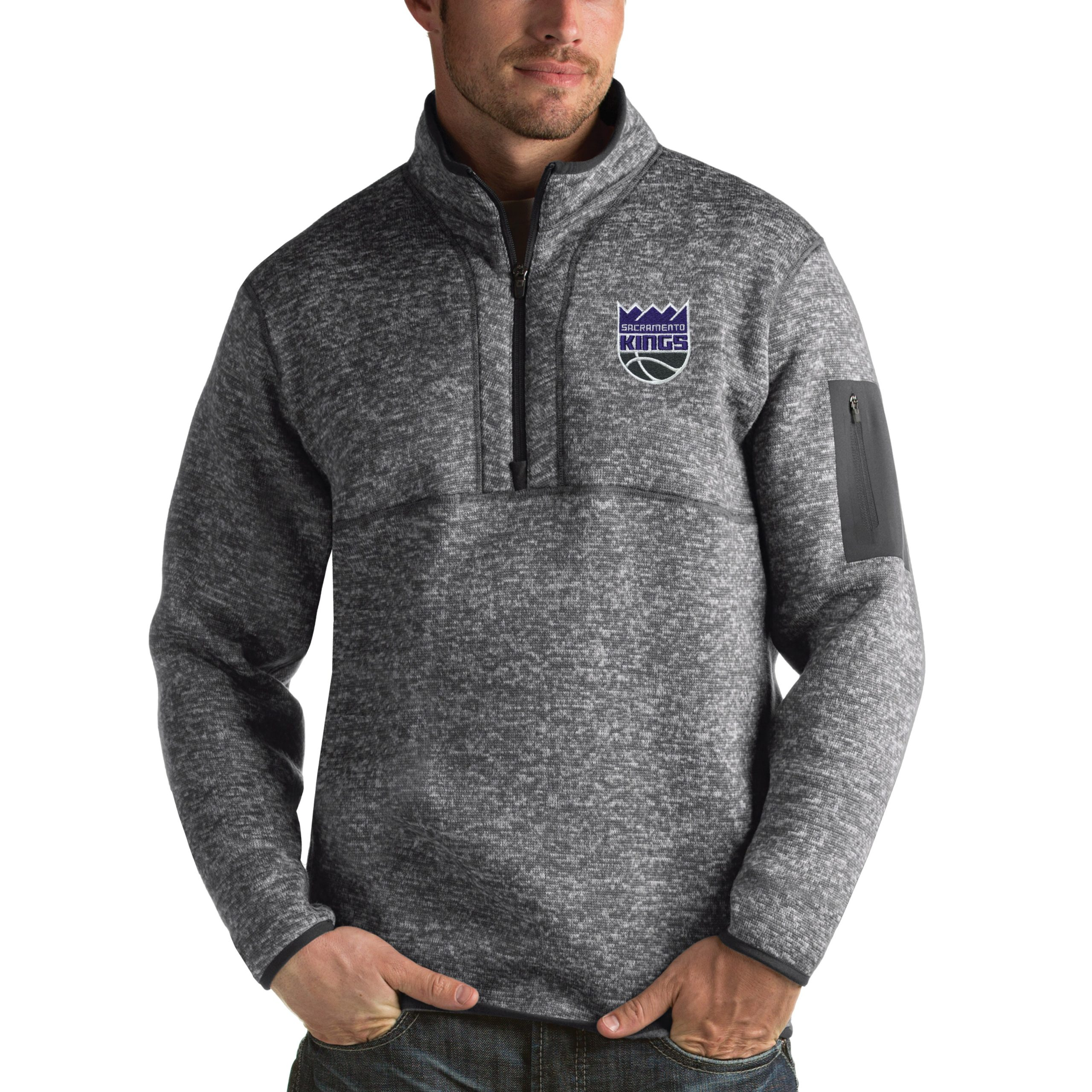 Sacramento Kings Antigua Fortune 1/2-Zip Pullover Jacket - Heathered Black
