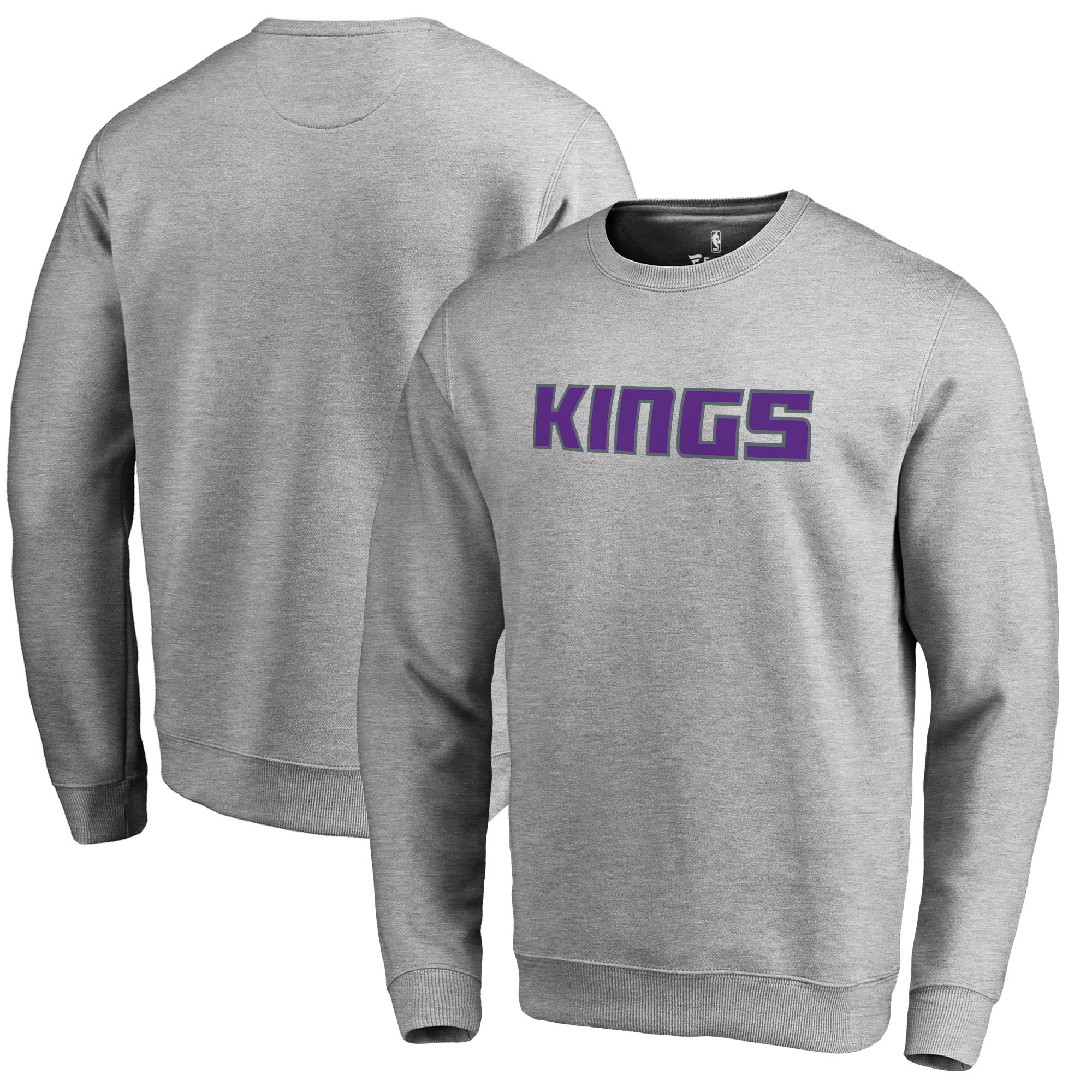 Sacramento Kings Fanatics Branded Wordmark Pullover Sweatshirt - Heathered Gray