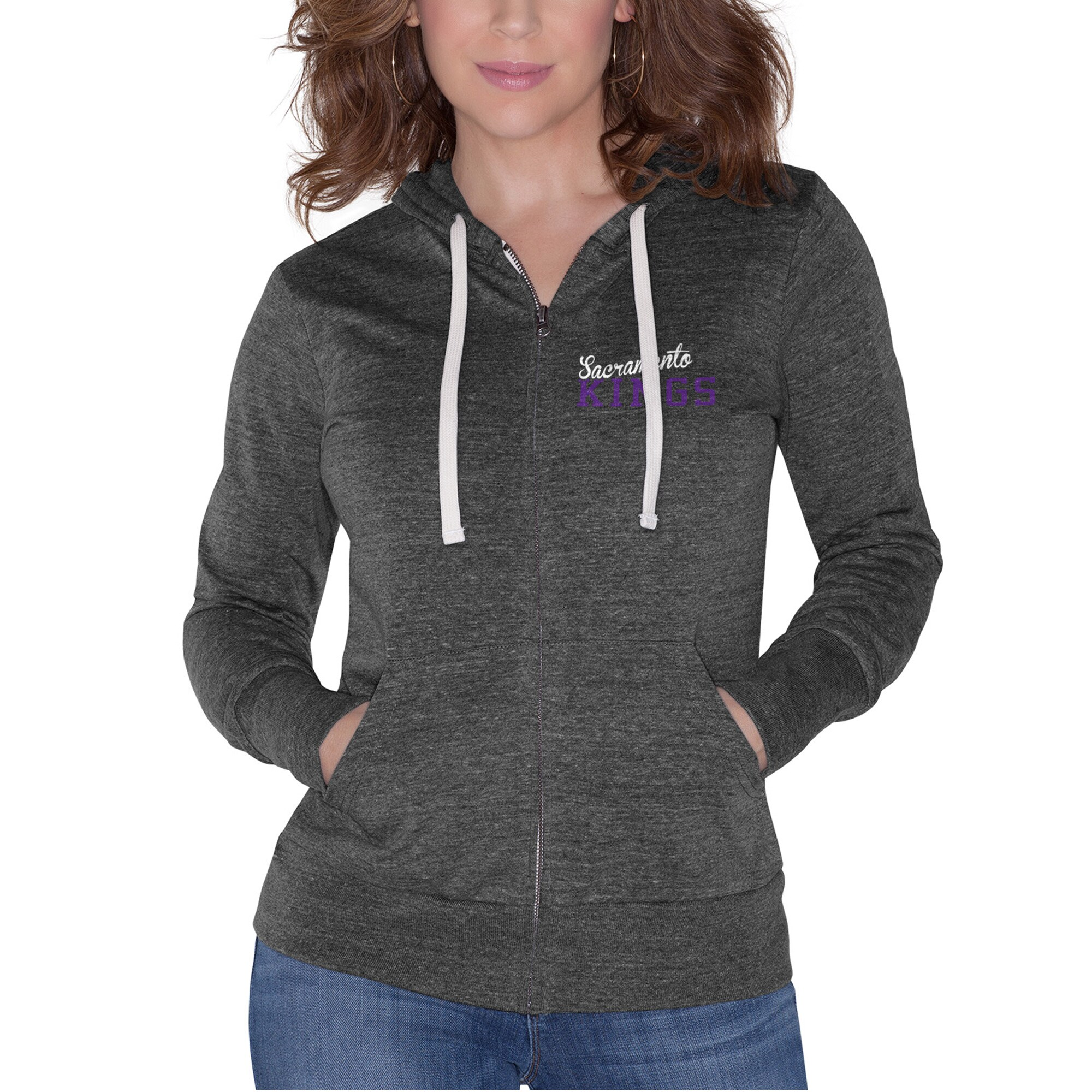 Sacramento Kings Touch by Alyssa Milano Women's Free Agent Tri-Blend Full-Zip Hoodie - Black