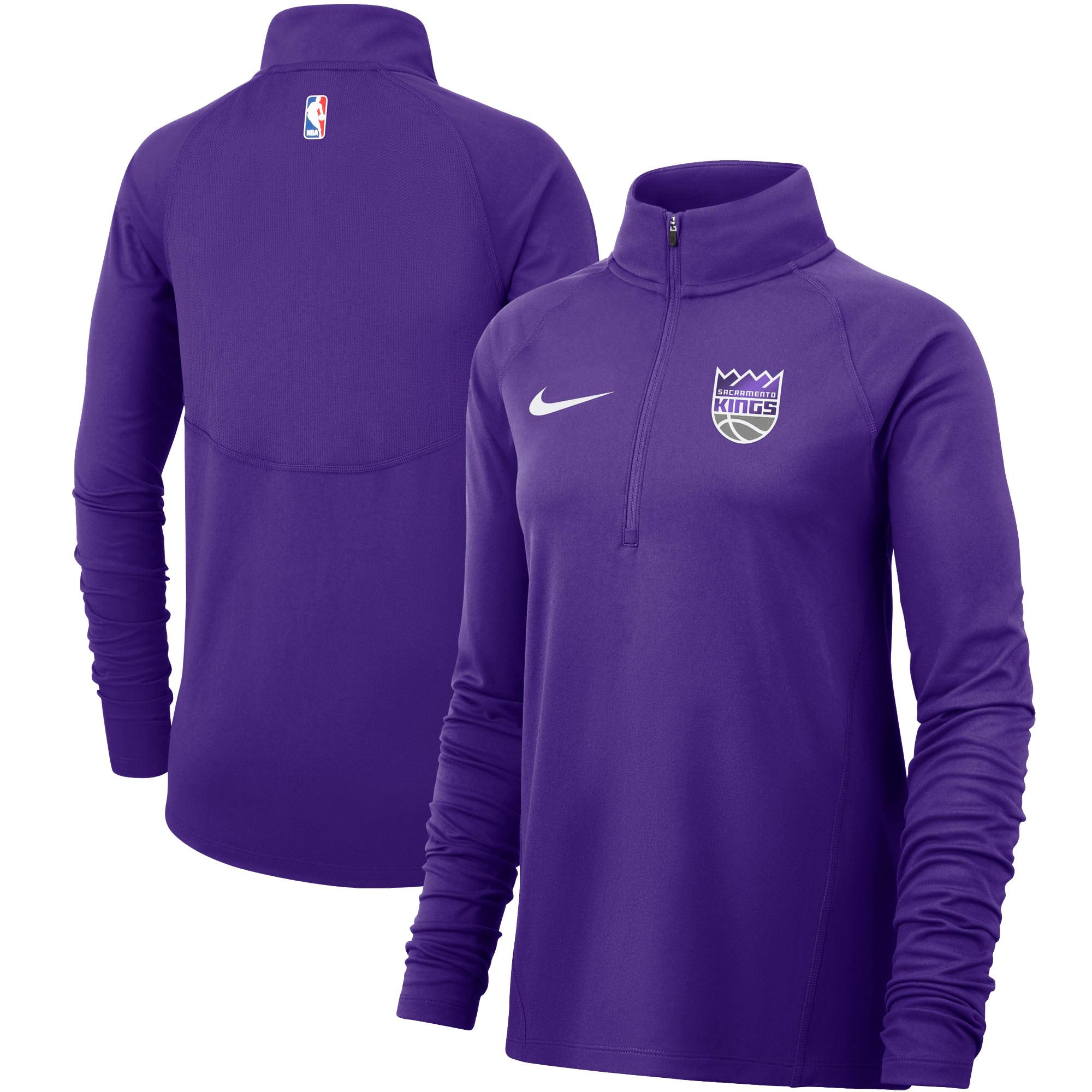 Sacramento Kings Nike Women's Element Performance Raglan Sleeve Half-Zip Pullover Jacket - Purple