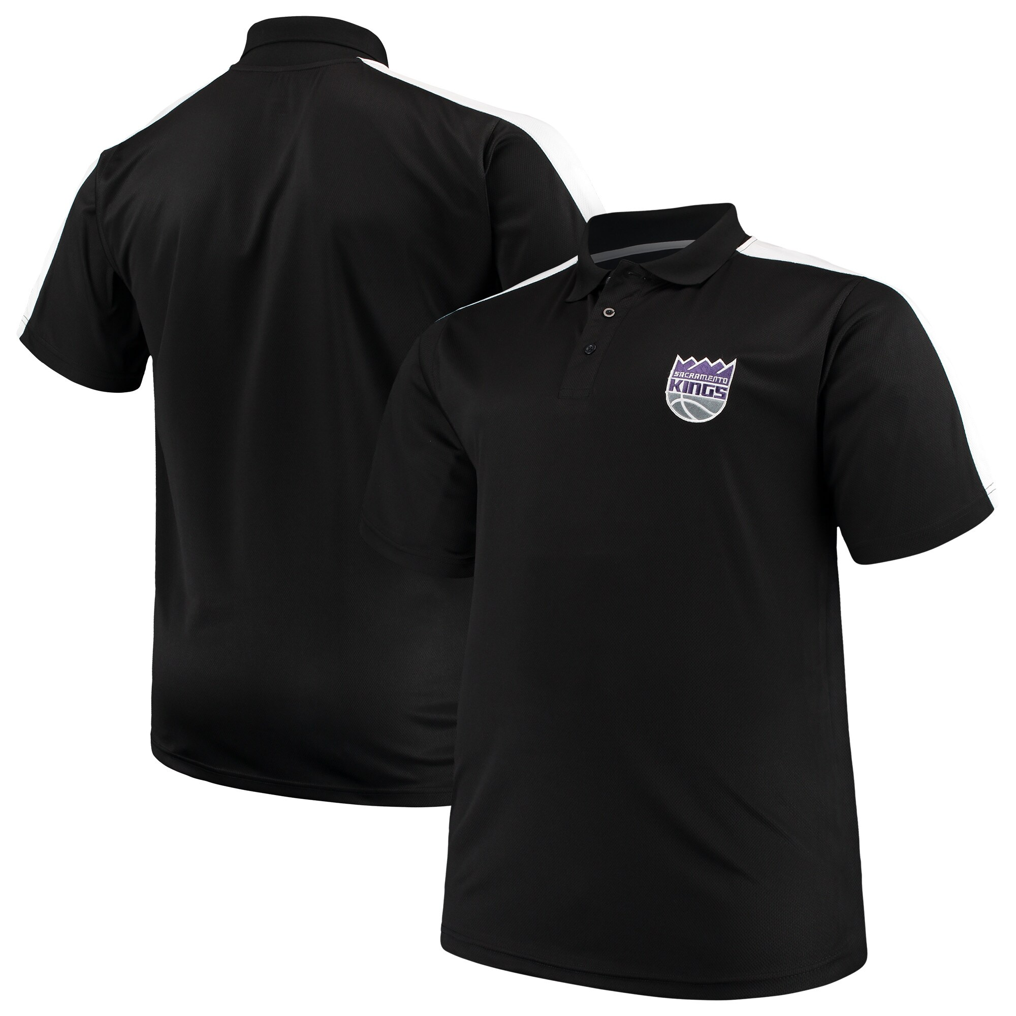 Sacramento Kings Majestic Big & Tall Birdseye Polo - Black/White