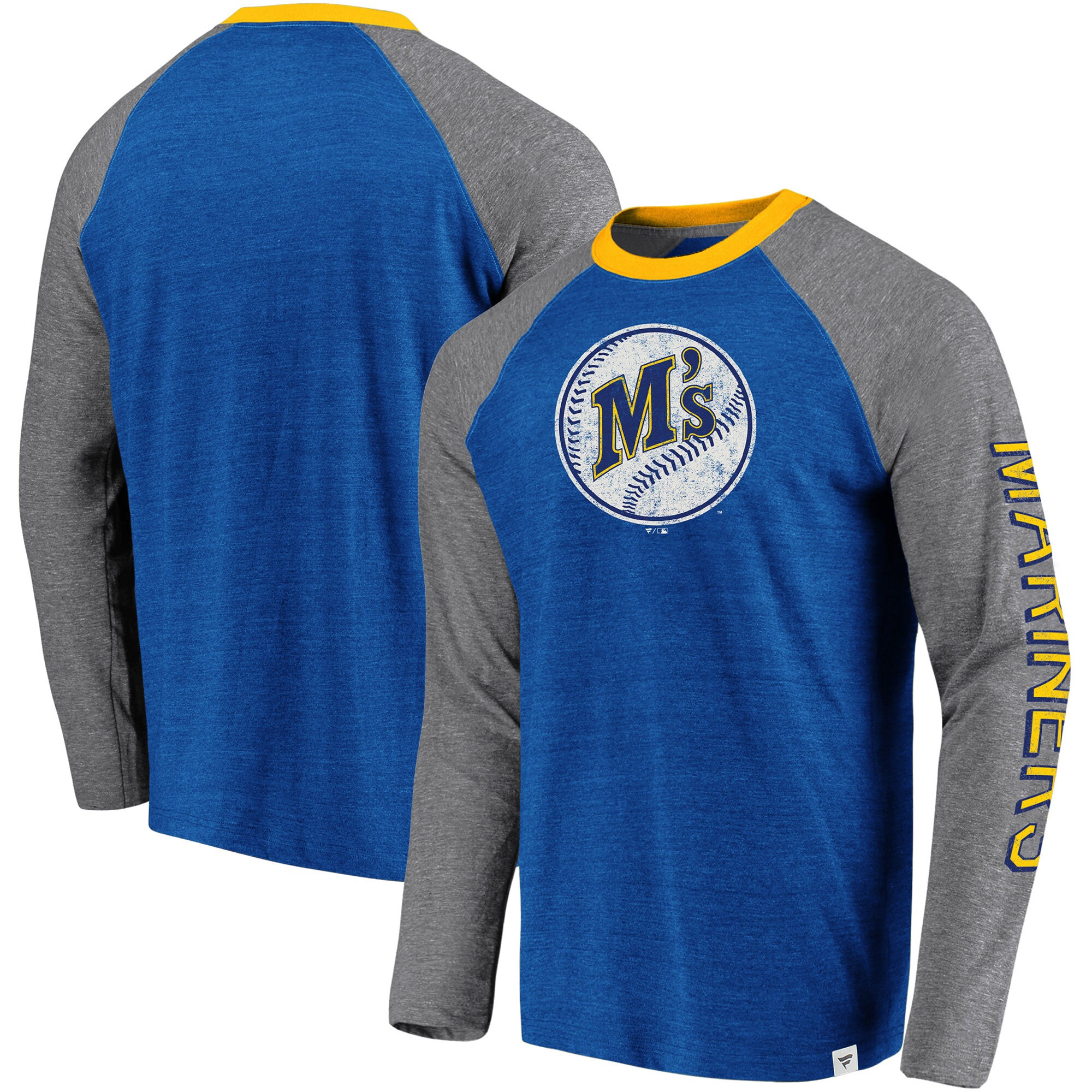 Seattle Mariners Fanatics Branded True Classics Long Sleeve Raglan T-Shirt - Royal/Gray