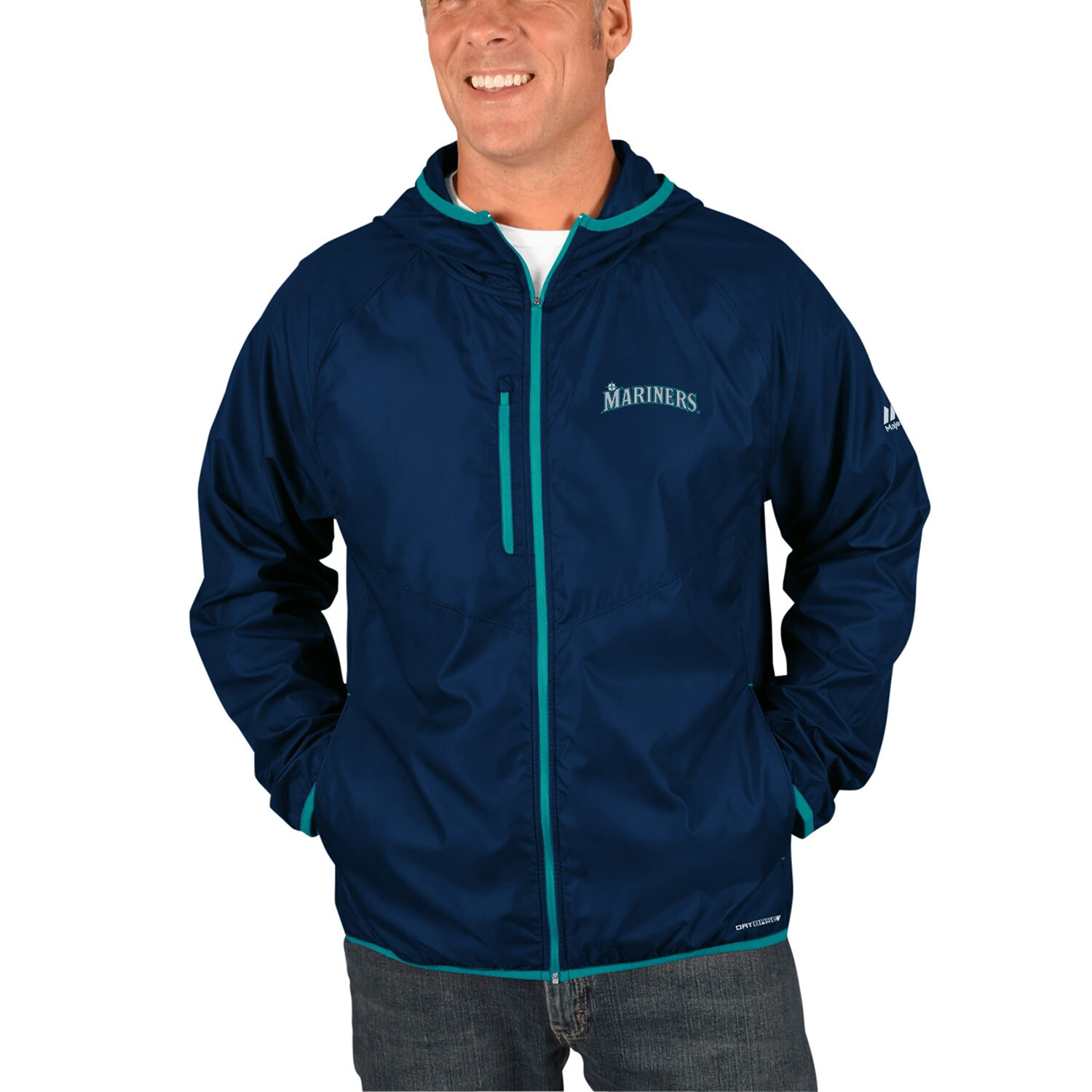 Seattle Mariners Majestic Strong Will Dry Base Full-Zip Hooded Jacket - Navy