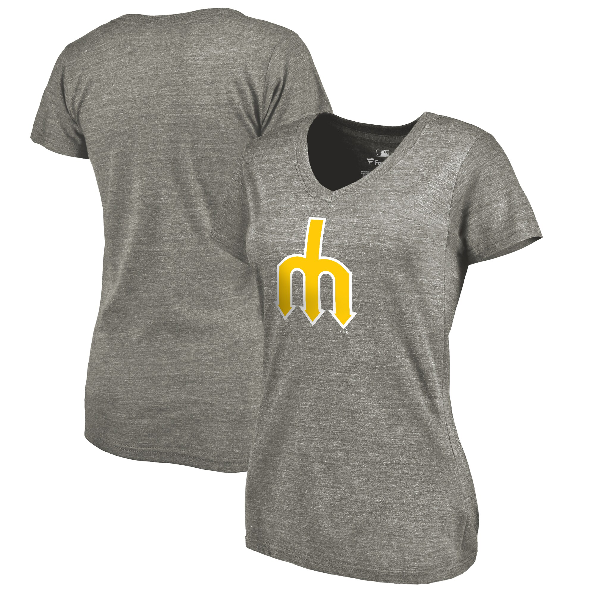 Seattle Mariners Fanatics Branded Women's Cooperstown Collection Forbes Tri-Blend V-Neck T-Shirt - Ash