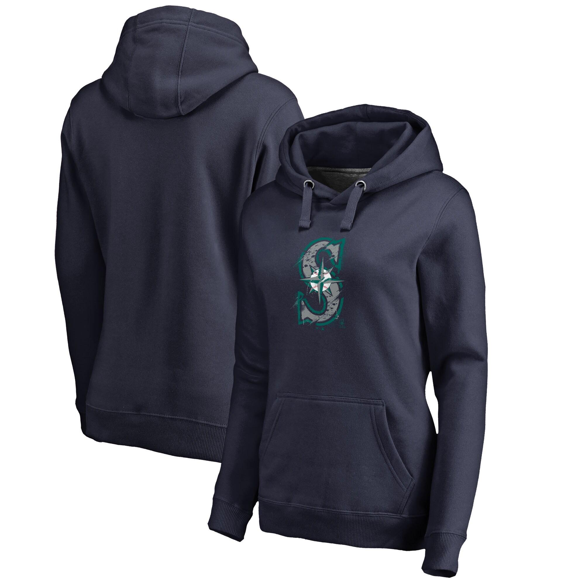 Seattle Mariners Fanatics Branded Women's Splatter Logo Pullover Hoodie - Navy