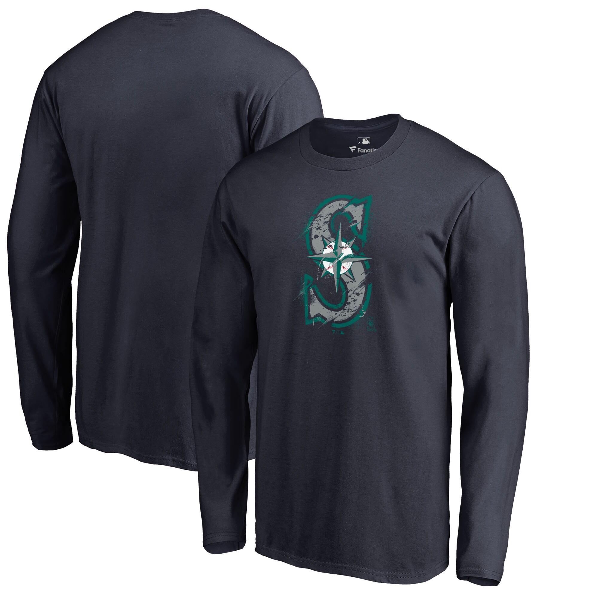 Seattle Mariners Fanatics Branded Splatter Logo Long Sleeve T-Shirt - Navy