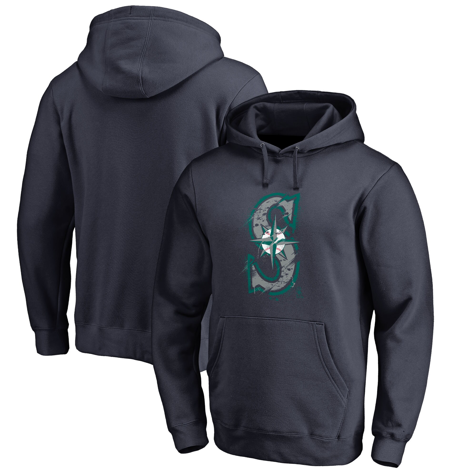 Seattle Mariners Fanatics Branded Splatter Logo Pullover Hoodie - Navy