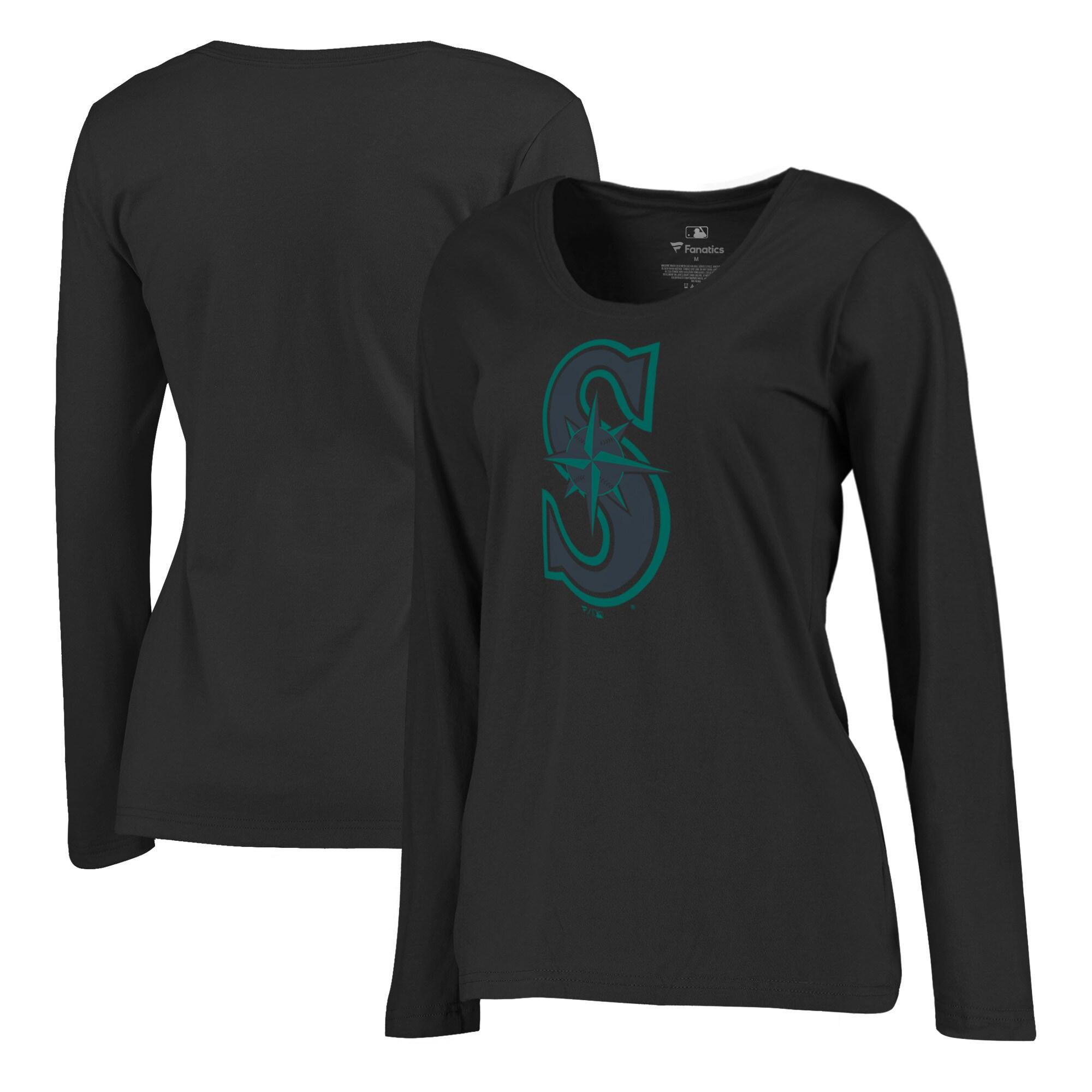 Seattle Mariners Fanatics Branded Women's Taylor Plus Size Long Sleeve T-Shirt - Black