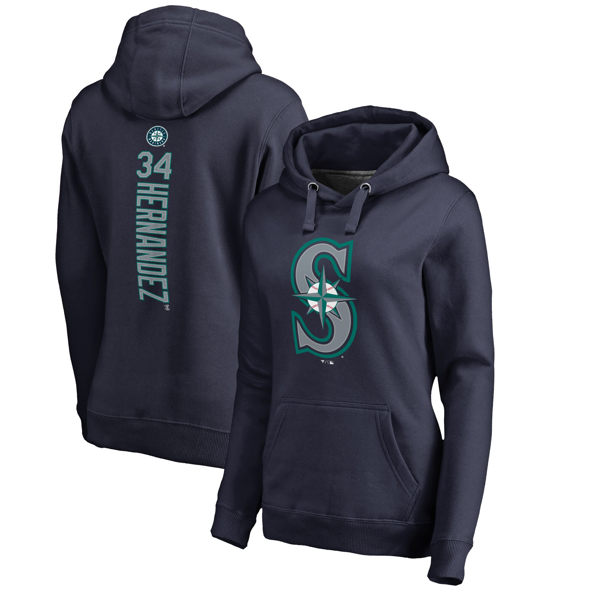 Felix Hernandez Seattle Mariners Fanatics Branded Women's Backer Pullover Hoodie - Navy