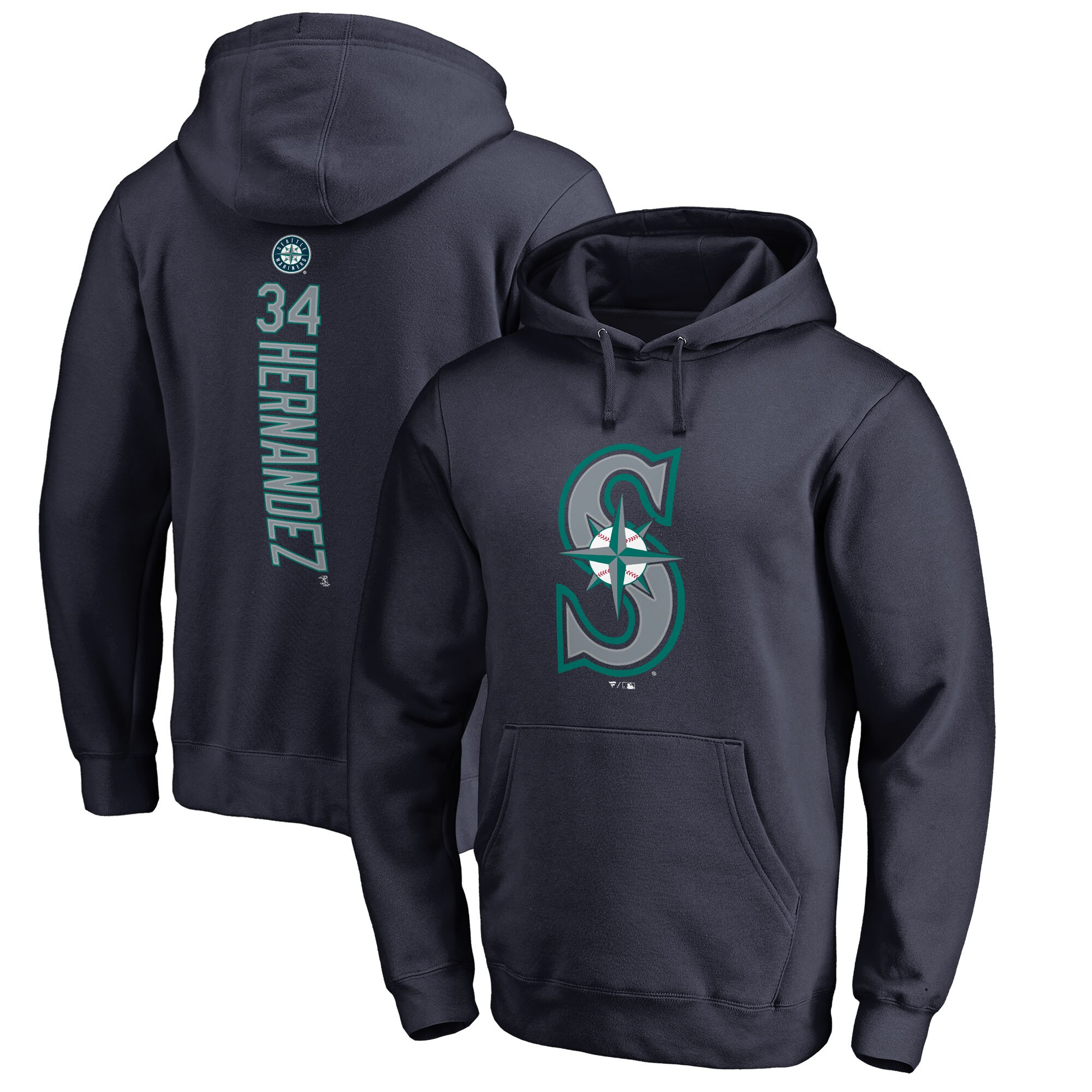 Felix Hernandez Seattle Mariners Fanatics Branded Backer Pullover Hoodie - Navy