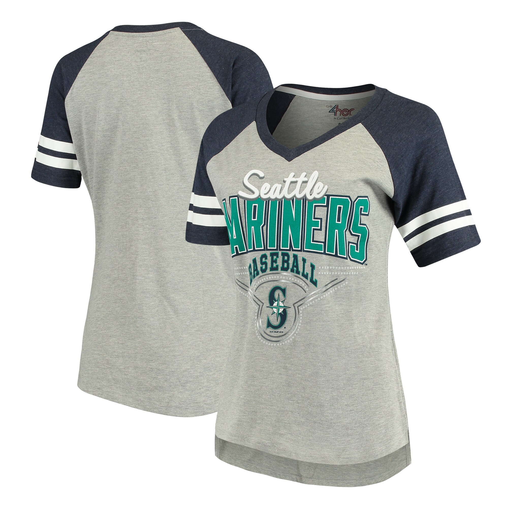 Seattle Mariners G-III 4Her by Carl Banks Women's Goal Line T-Shirt - Heathered Gray/Navy