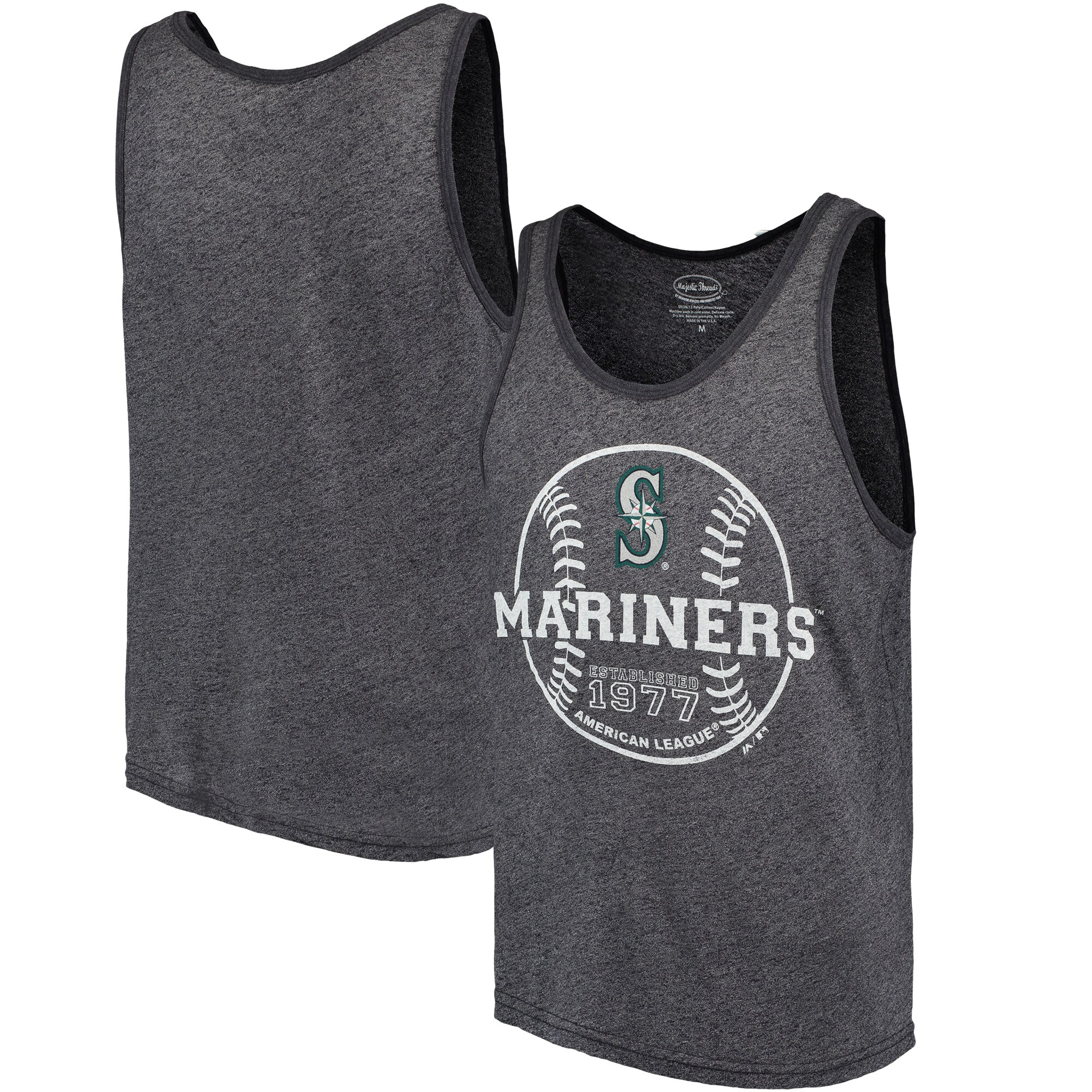 Seattle Mariners Majestic Threads The Stretch Contrast Tri-Blend Tank Top - Heathered Navy
