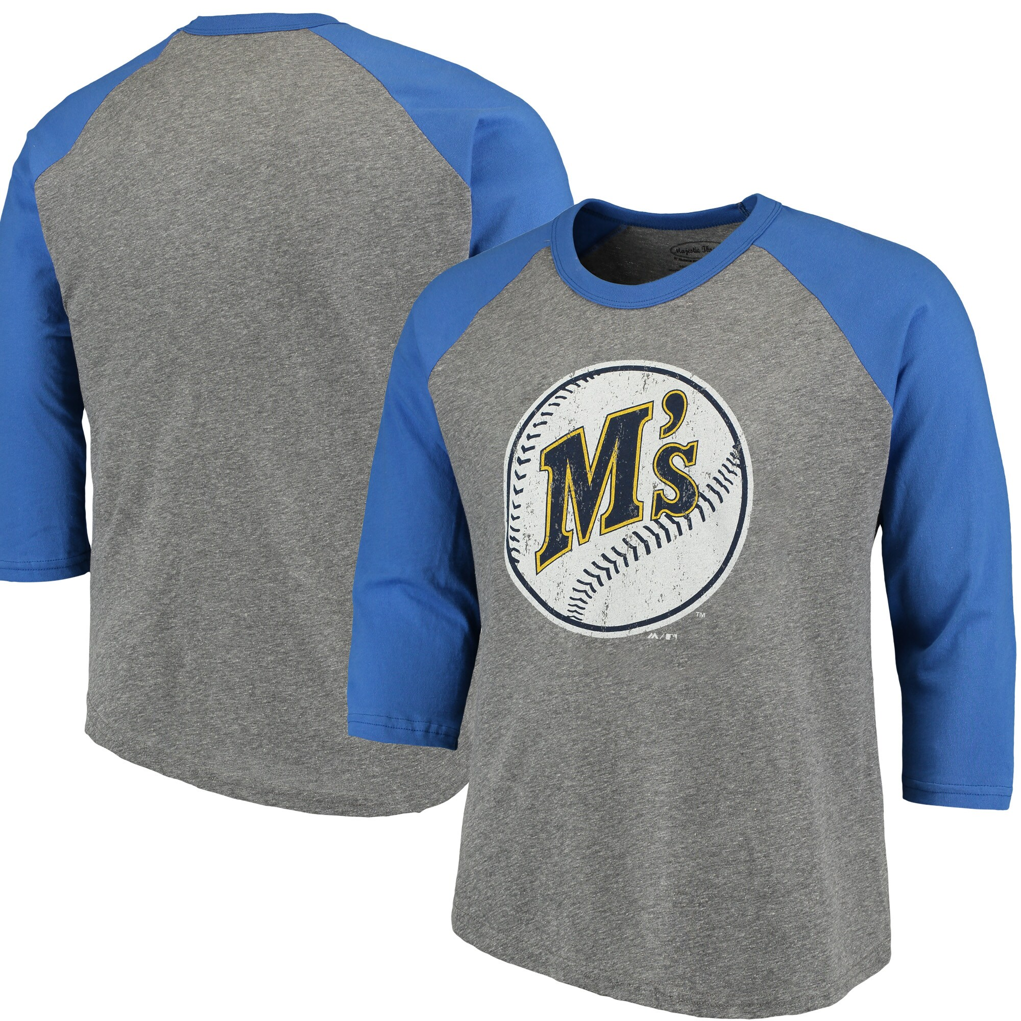 Seattle Mariners Majestic Threads Cooperstown Collection 3/4-Sleeve Raglan Tri-Blend T-Shirt - Heathered Gray/Royal