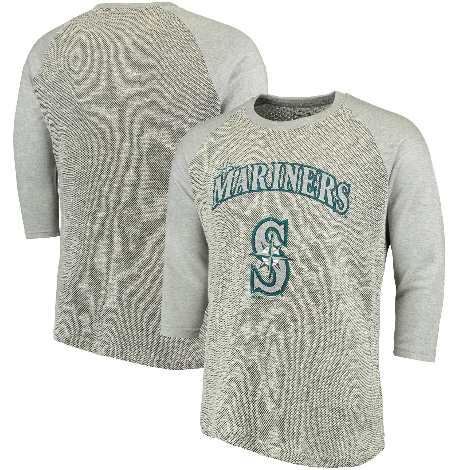 Seattle Mariners Majestic Threads Tri-Yarn French Terry 3/4-Sleeve Raglan T-Shirt - Gray