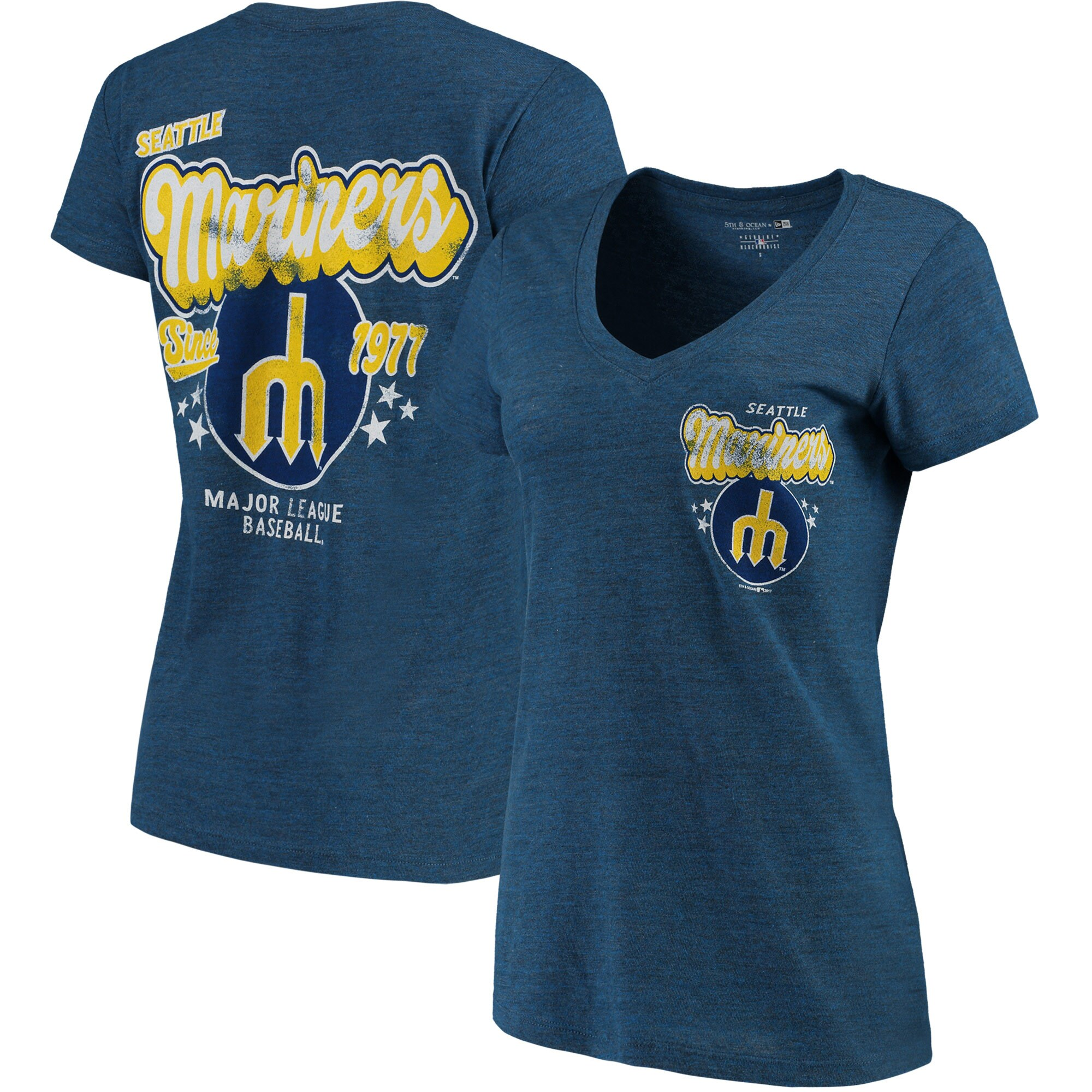 Seattle Mariners 5th & Ocean by New Era Women's Cooperstown Collection Tri-Blend V-Neck T-Shirt - Heathered Royal