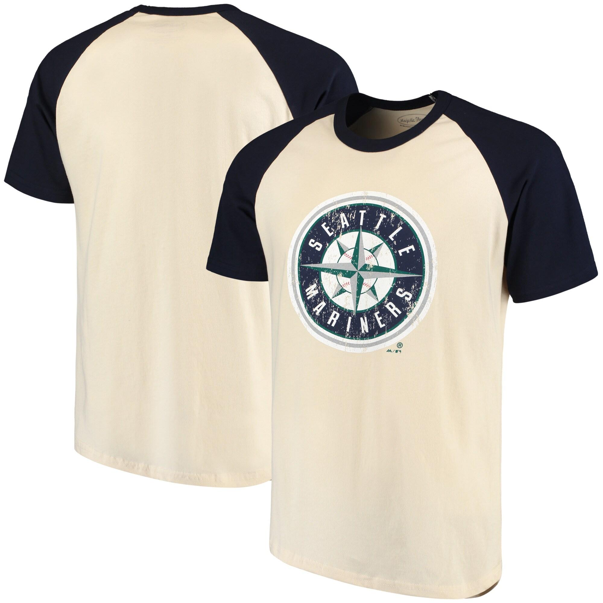 Seattle Mariners Majestic Threads Softhand Raglan T-Shirt - Cream/Navy