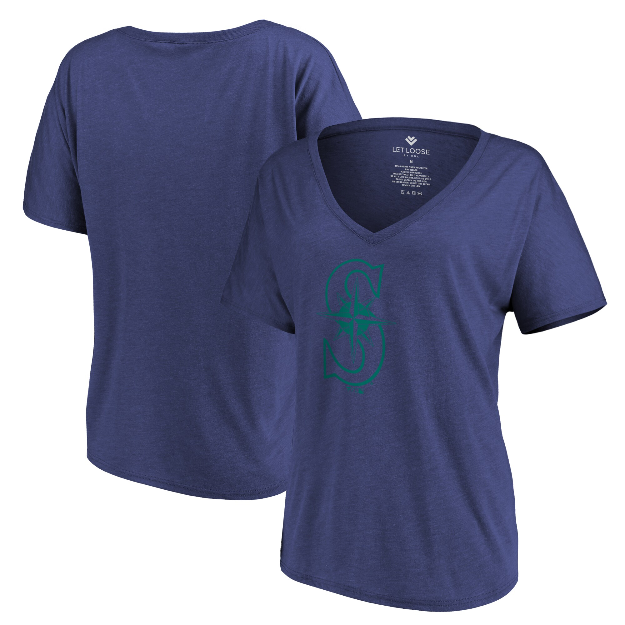 Seattle Mariners Let Loose by RNL Women's Distressed Primary Logo T-Shirt - Navy