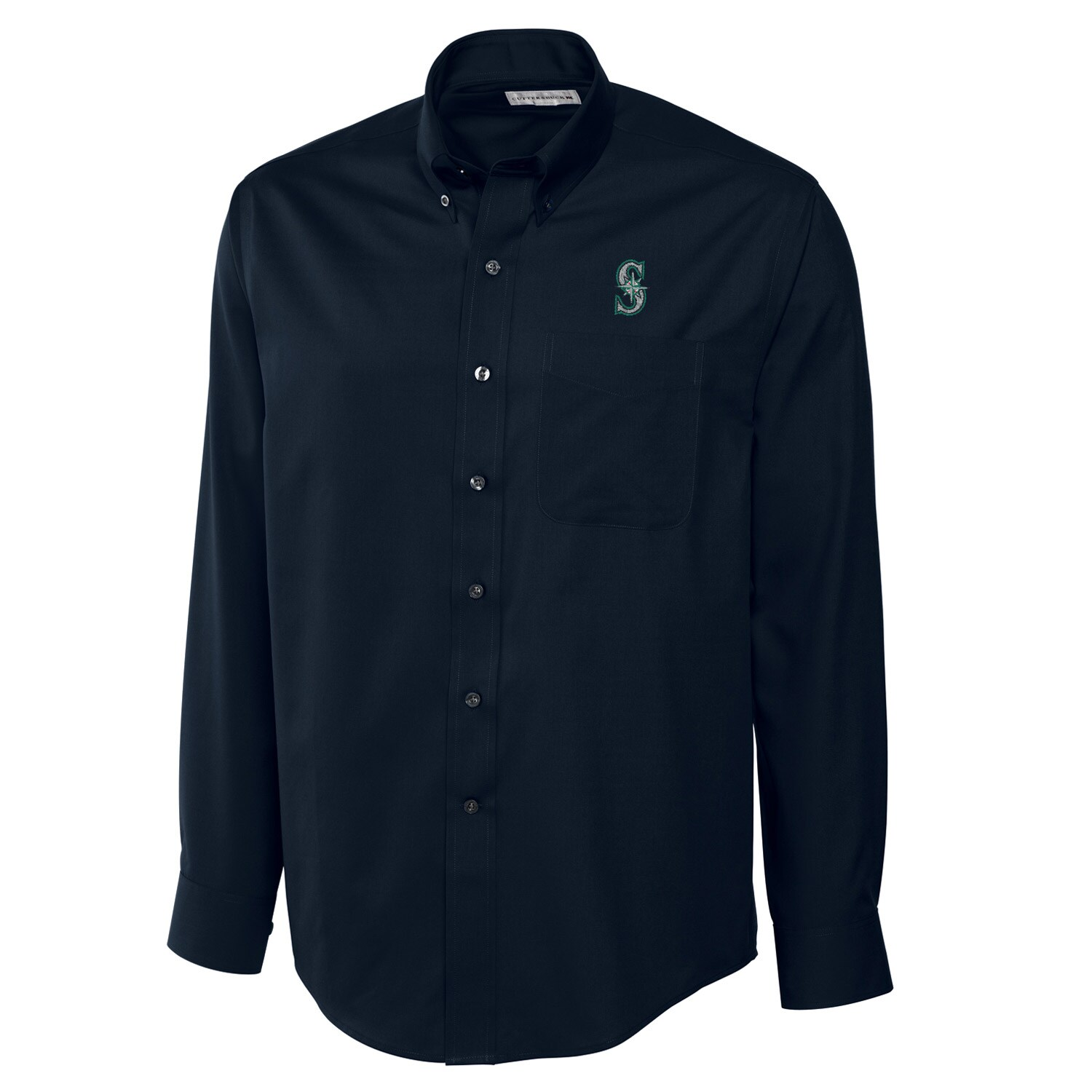 Seattle Mariners Cutter & Buck Big & Tall Epic Easy Care Fine Twill Long Sleeve Shirt - Navy
