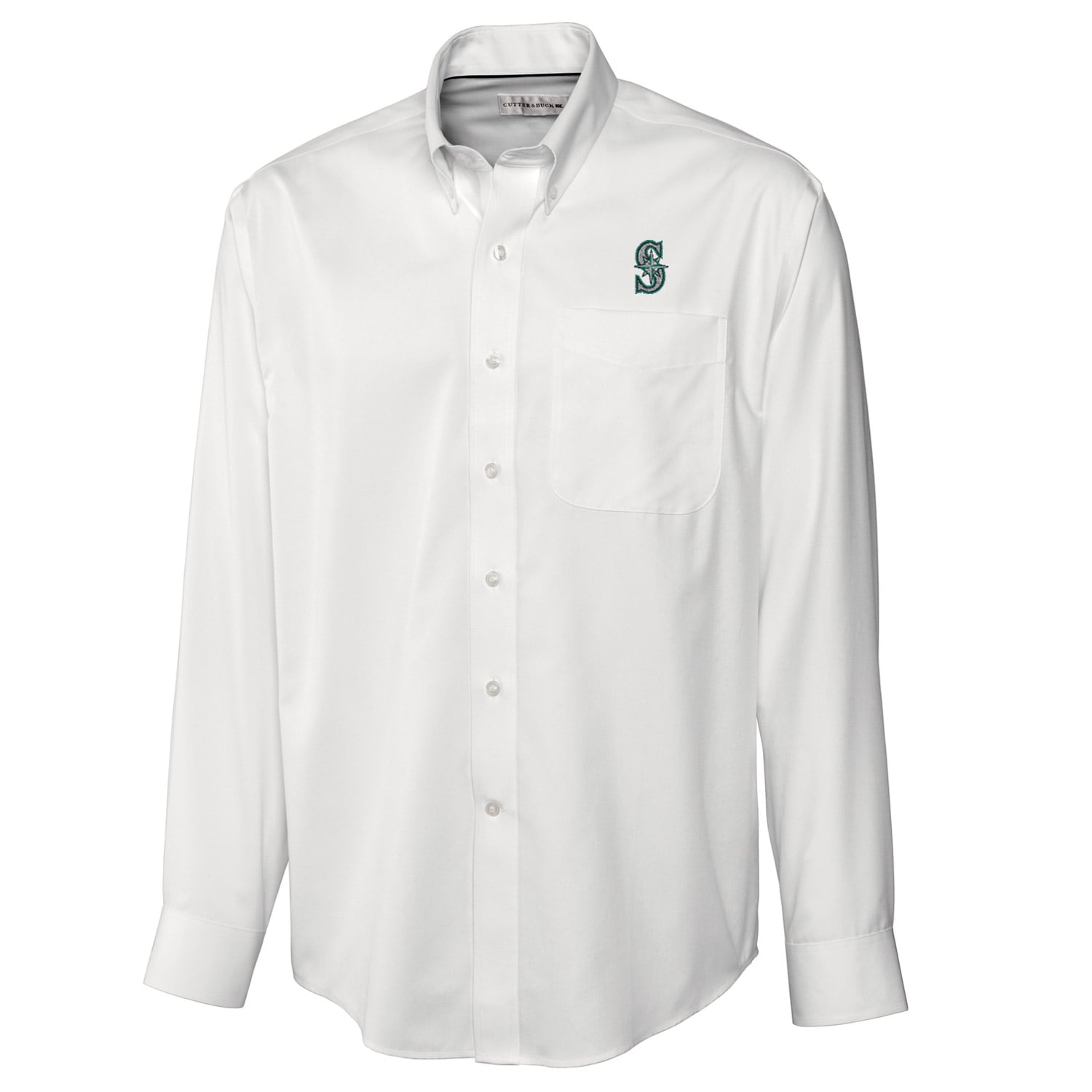Seattle Mariners Cutter & Buck Big & Tall Epic Easy Care Fine Twill Long Sleeve Shirt - White