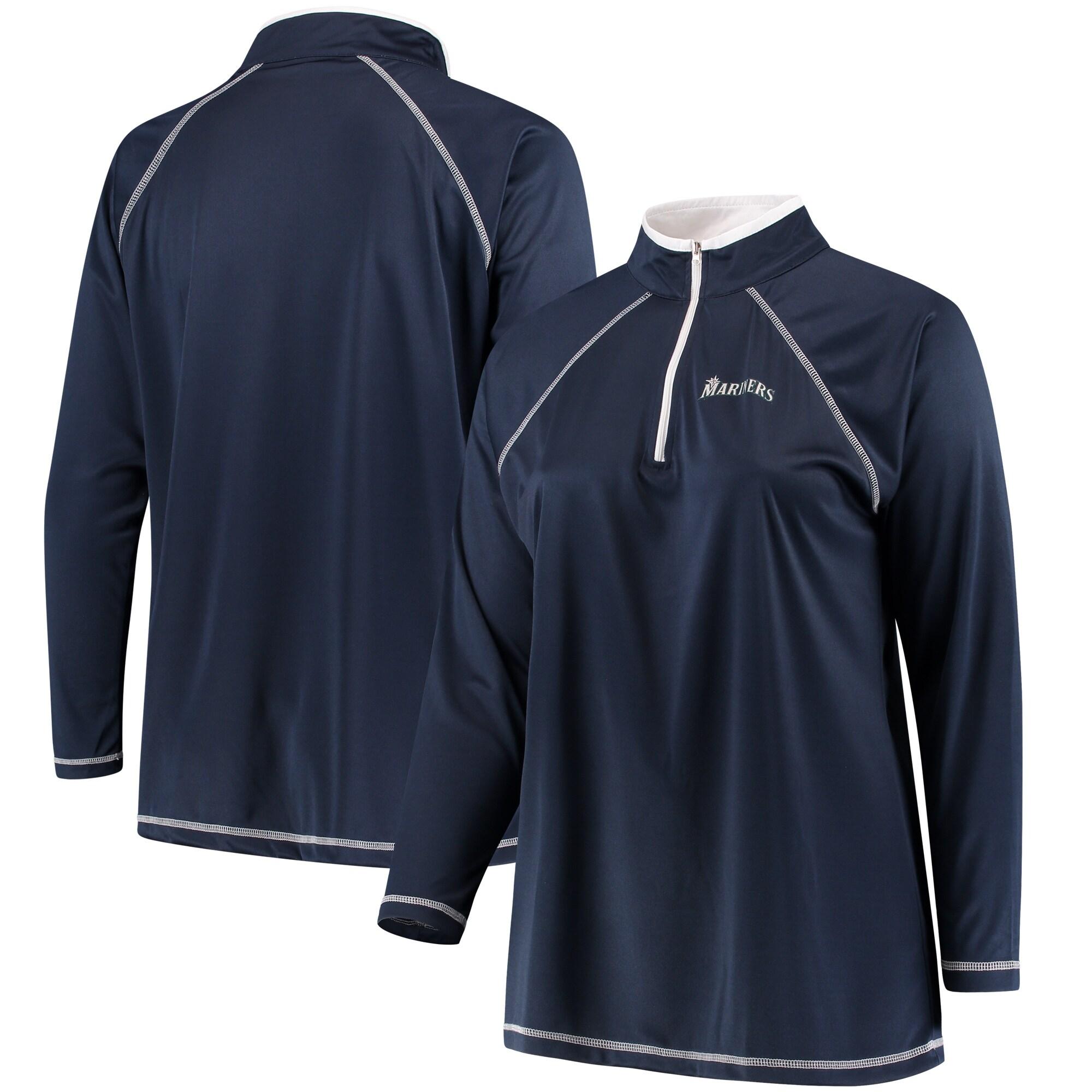 Seattle Mariners Majestic Women's Plus Size Quarter-Zip Pullover Jacket - Navy