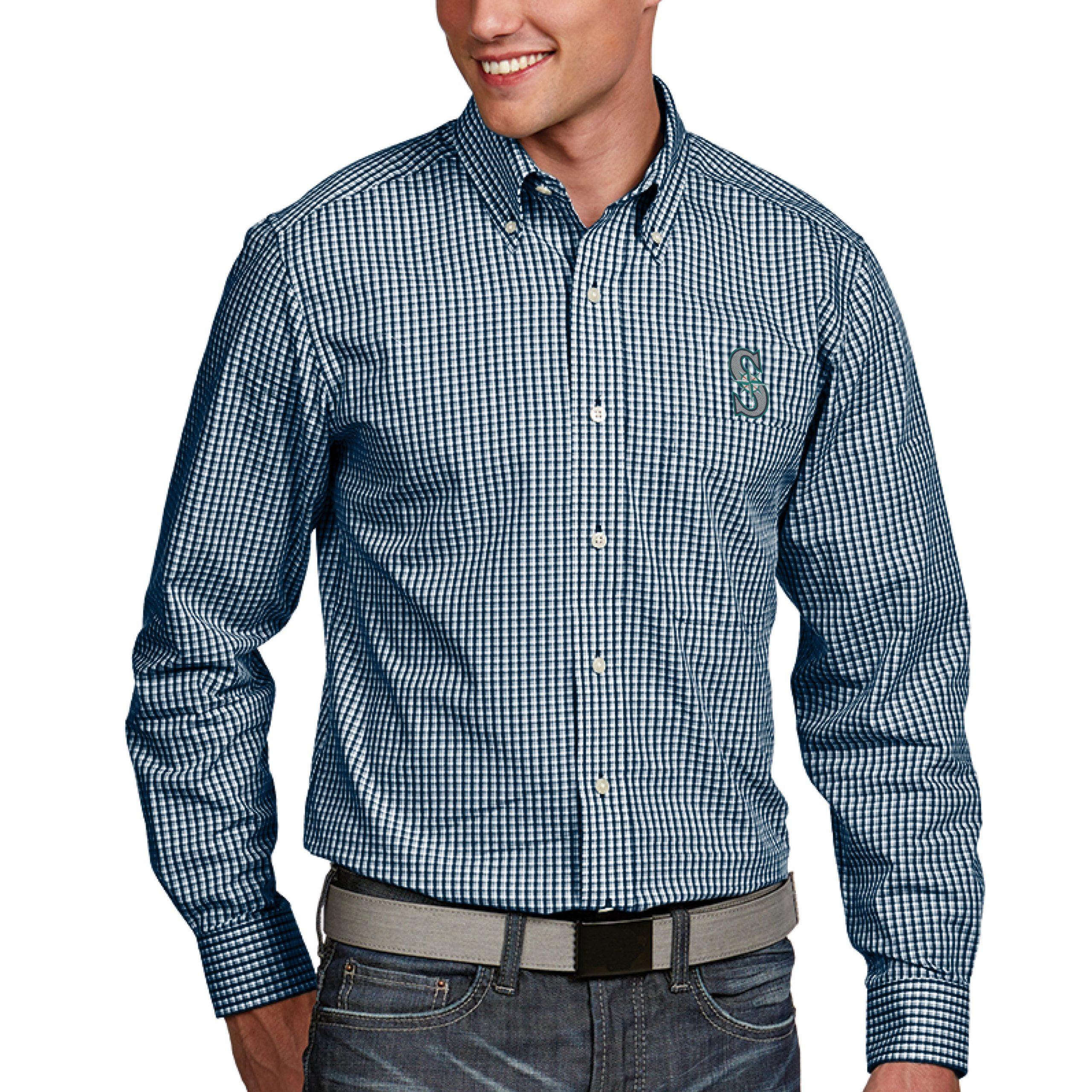 Seattle Mariners Antigua Associate Button-Down Dress Long Sleeve Shirt - Navy