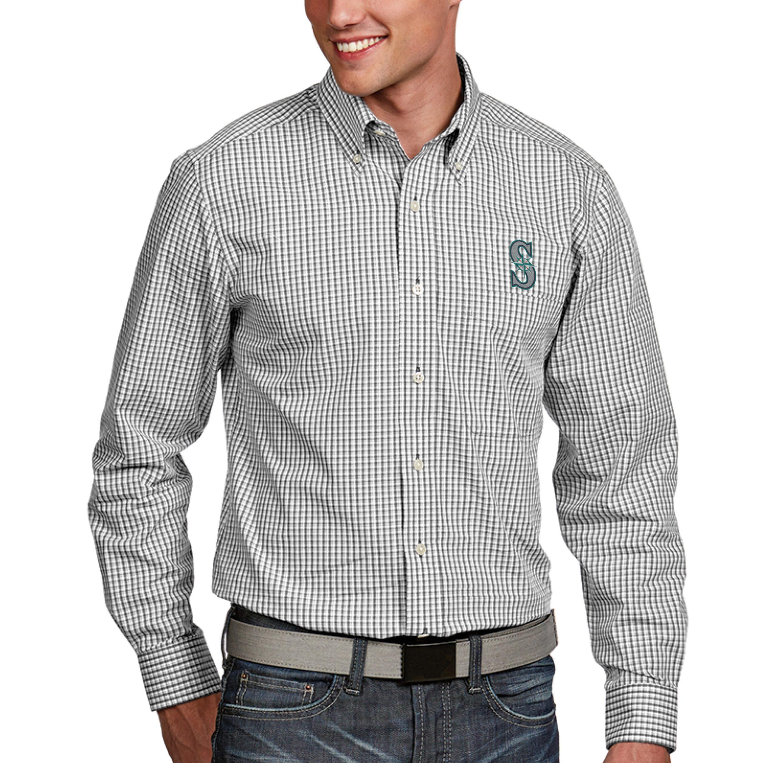 Seattle Mariners Antigua Associate Button-Down Dress Long Sleeve Shirt - White