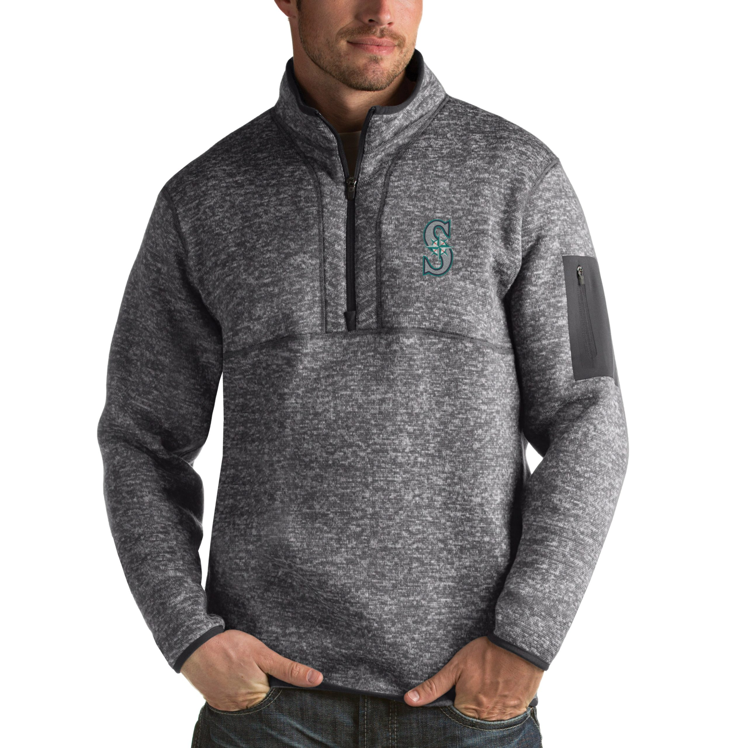 Seattle Mariners Antigua Fortune Half-Zip Sweater - Heathered Charcoal