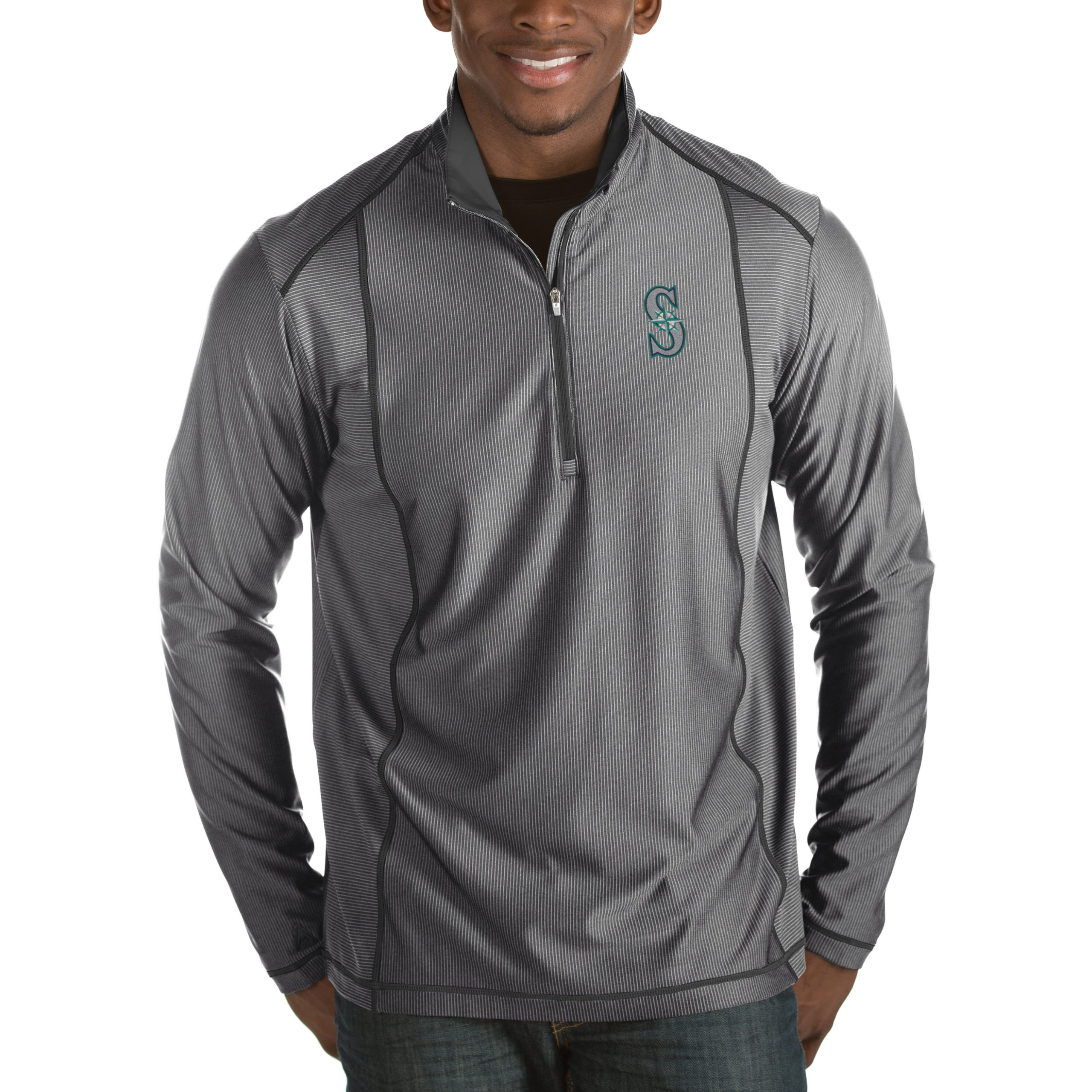 Seattle Mariners Antigua Tempo Half-Zip Pullover Jacket - Heathered Charcoal