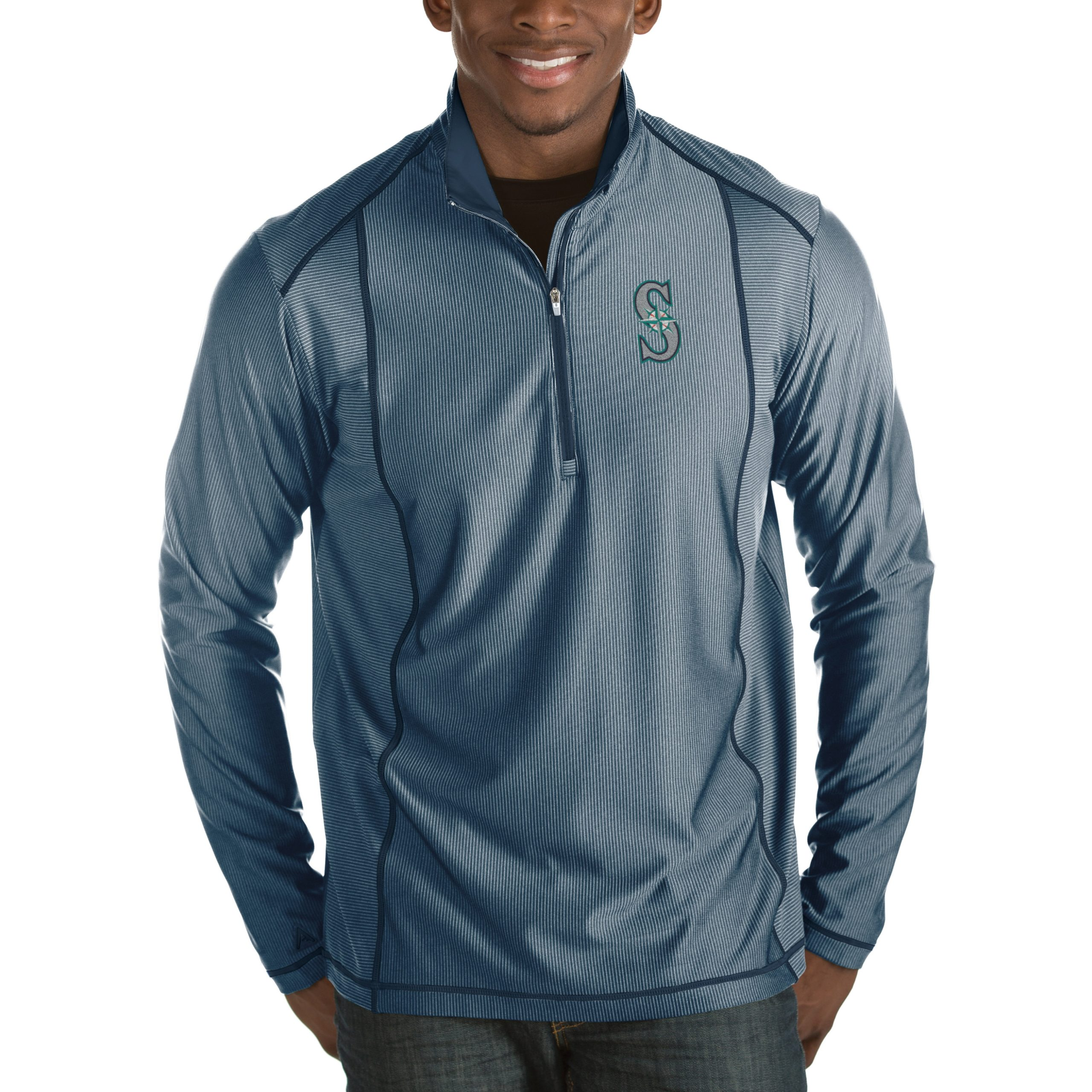 Seattle Mariners Antigua Tempo Half-Zip Pullover Jacket - Heathered Navy