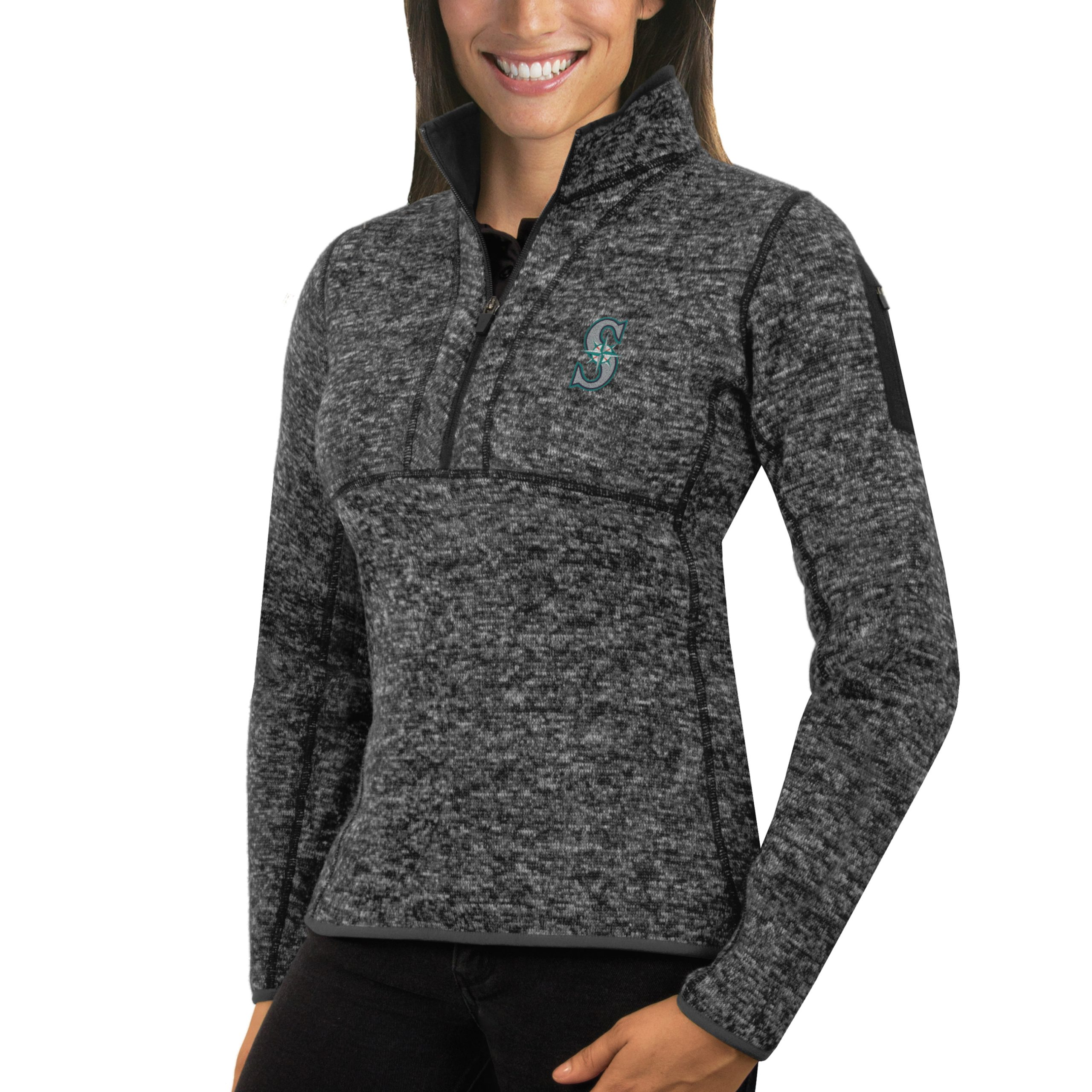 Seattle Mariners Antigua Women's Fortune Half-Zip Pullover Sweater - Heathered Charcoal