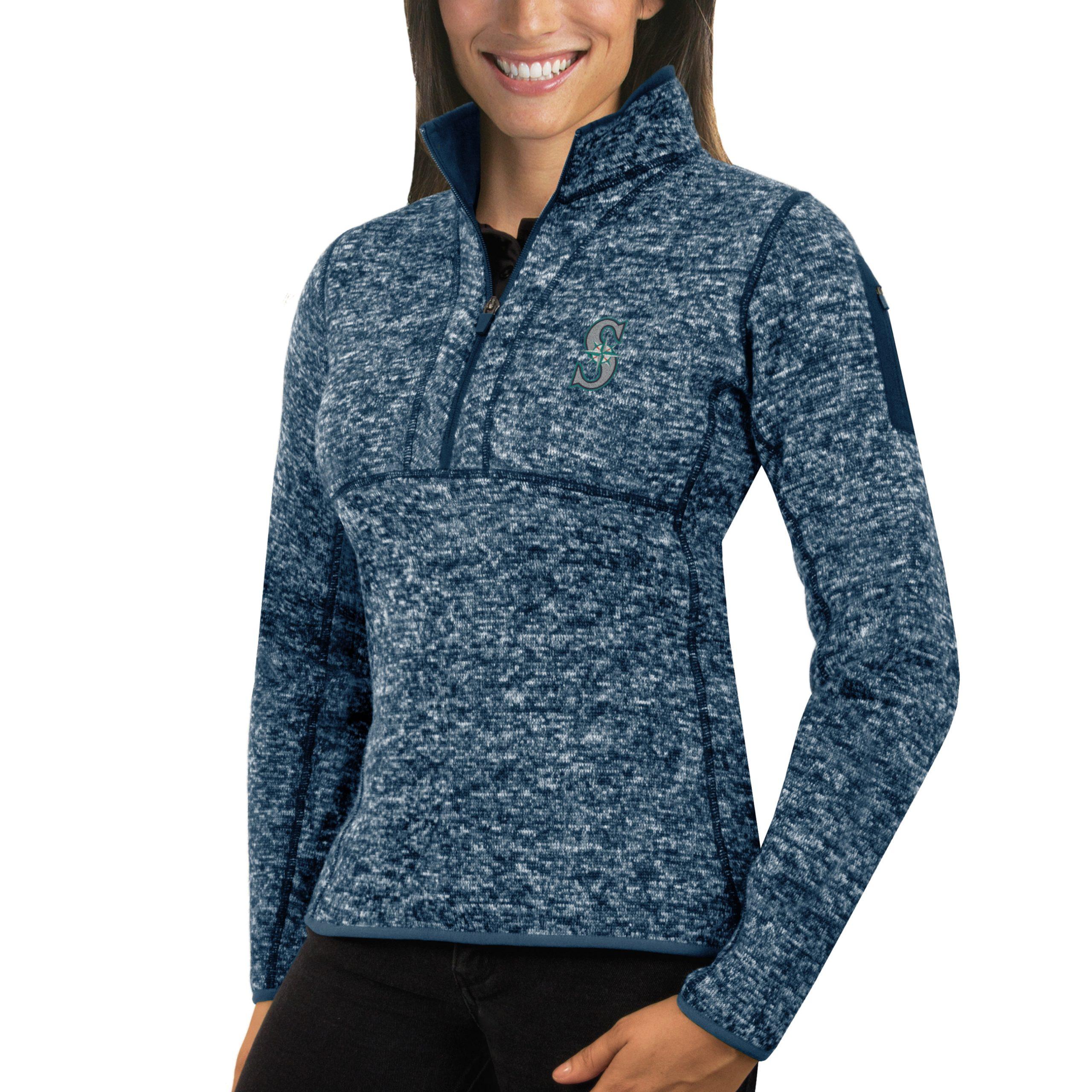 Seattle Mariners Antigua Women's Fortune Half-Zip Pullover Sweater - Heathered Navy