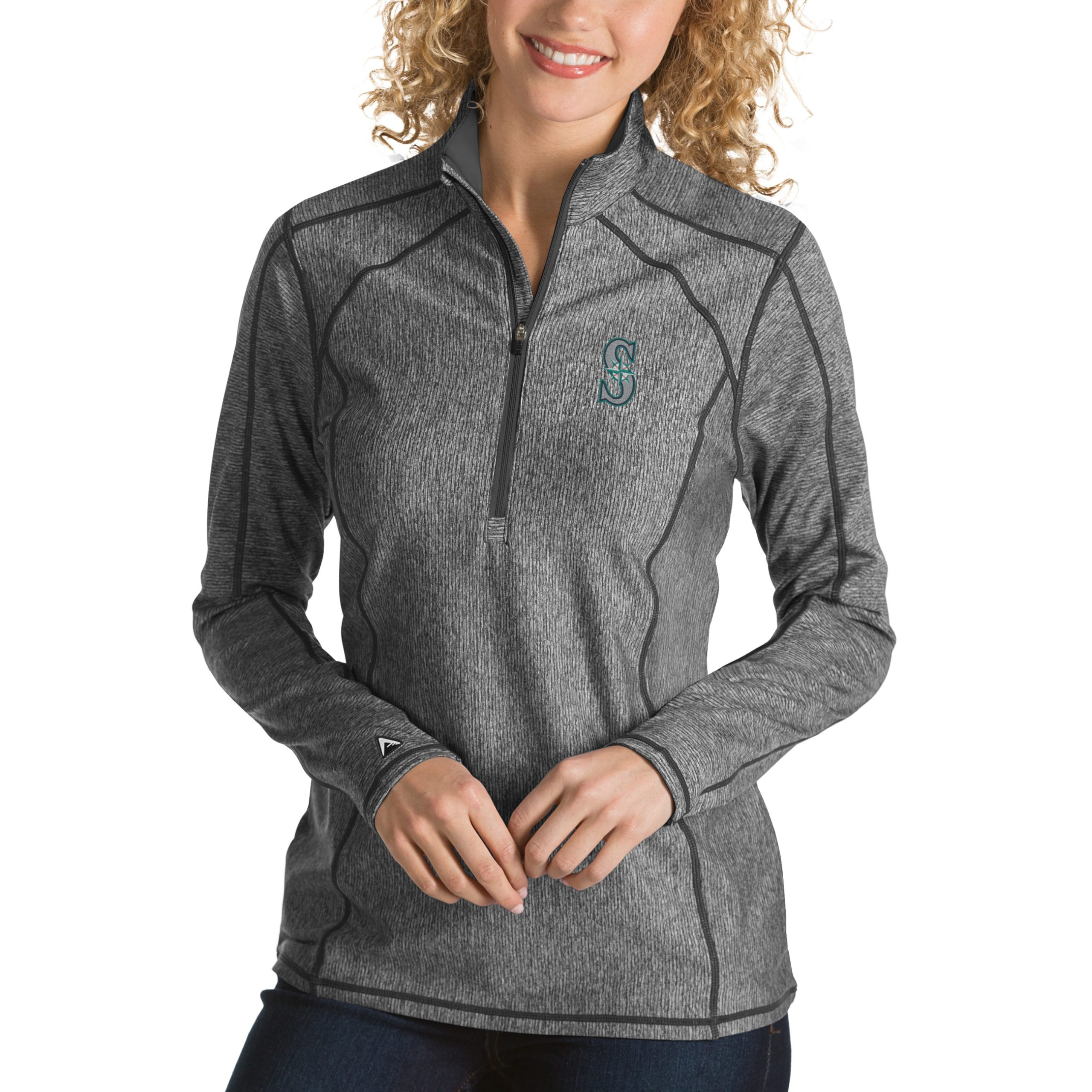 Seattle Mariners Antigua Women's Tempo Desert Dry 1/4-Zip Pullover Jacket - Heathered Charcoal