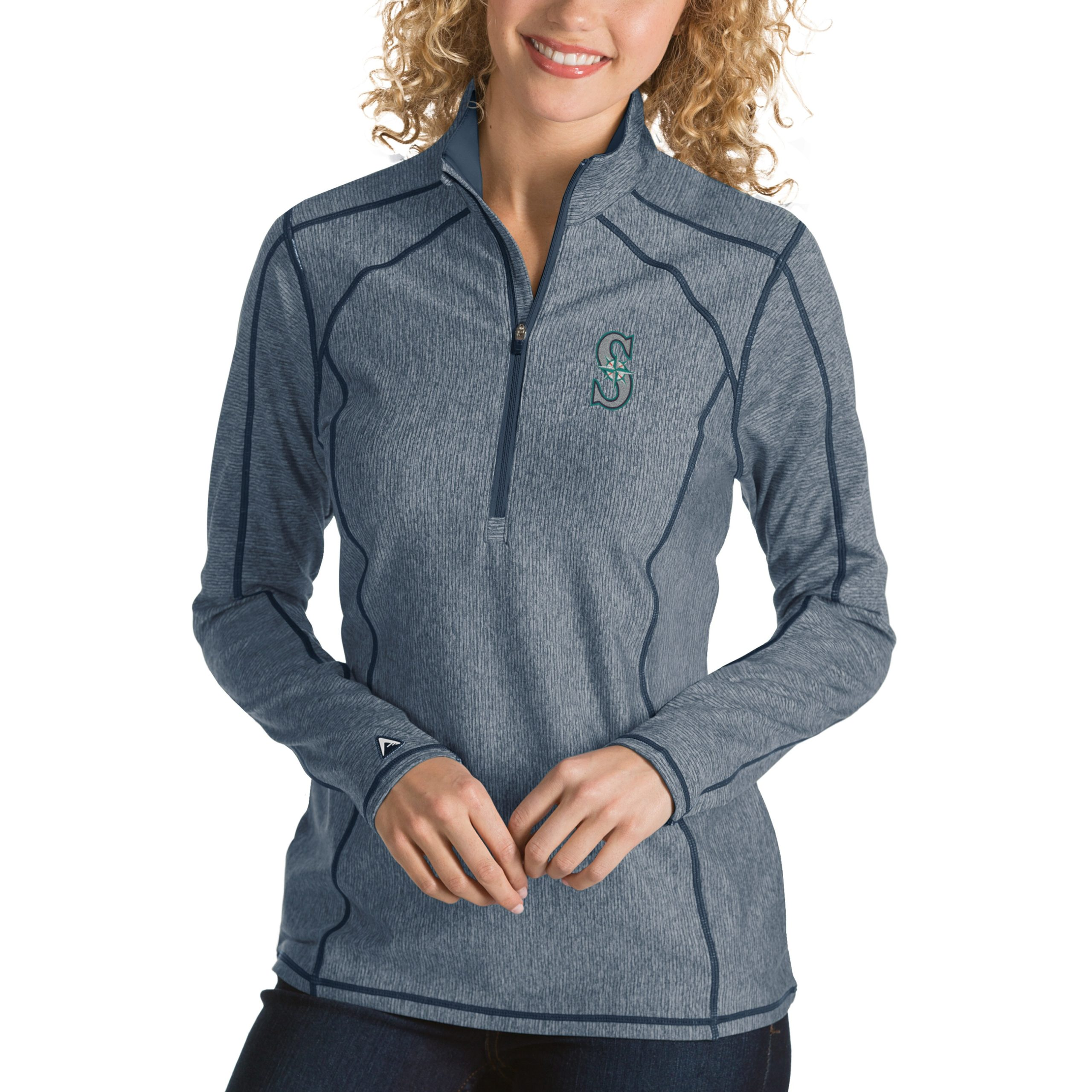 Seattle Mariners Antigua Women's Tempo Desert Dry 1/4-Zip Pullover Jacket - Heathered Navy