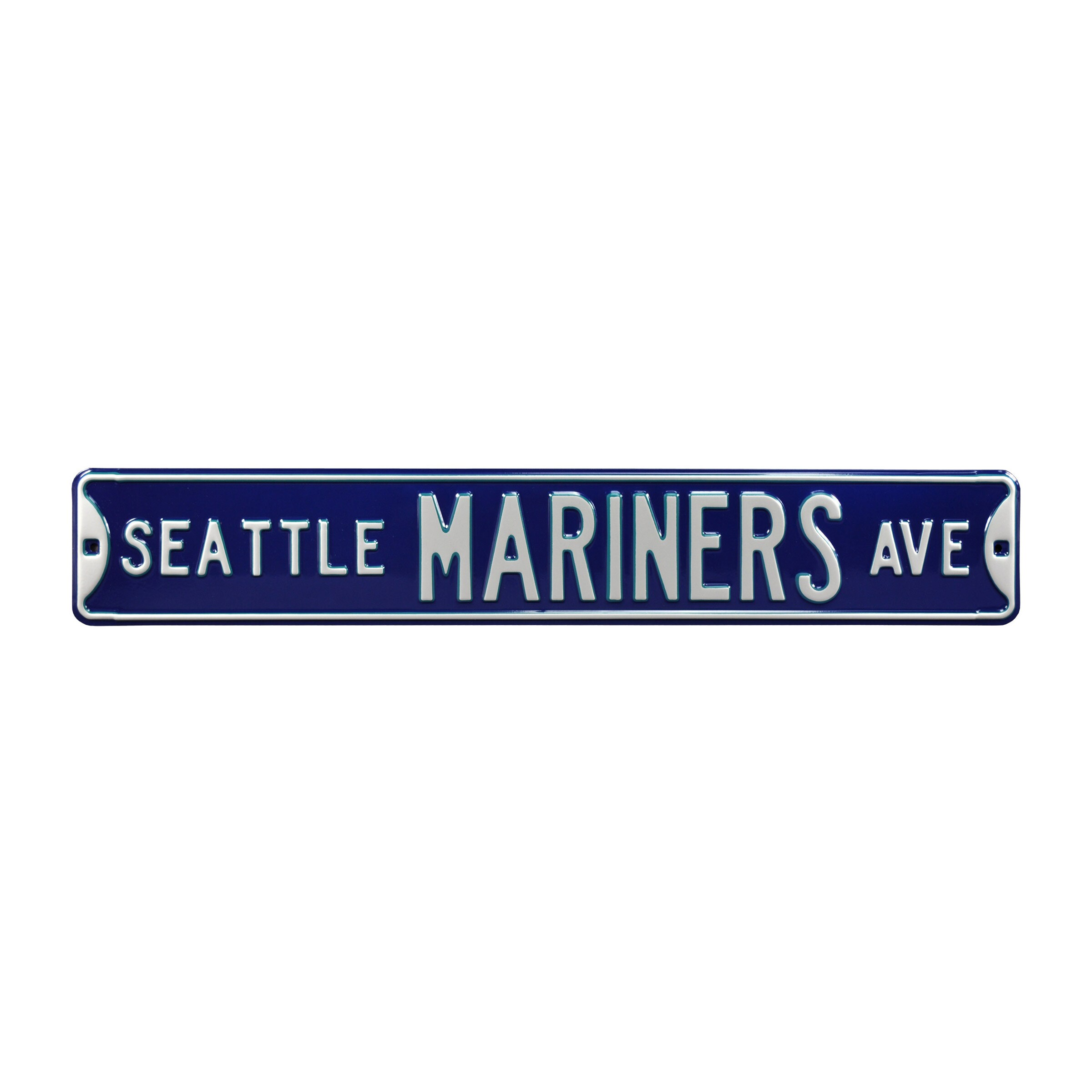"""Seattle Mariners 6"""" x 36"""" Steel Ave Sign Wall Art - Navy"""
