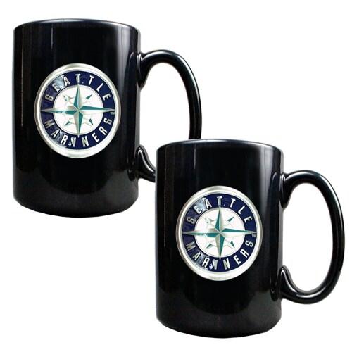 Seattle Mariners 15oz. Coffee Mug Set - Black