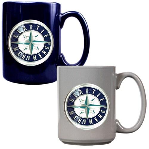 Seattle Mariners 15oz. Coffee Mug Set - Navy/Gray