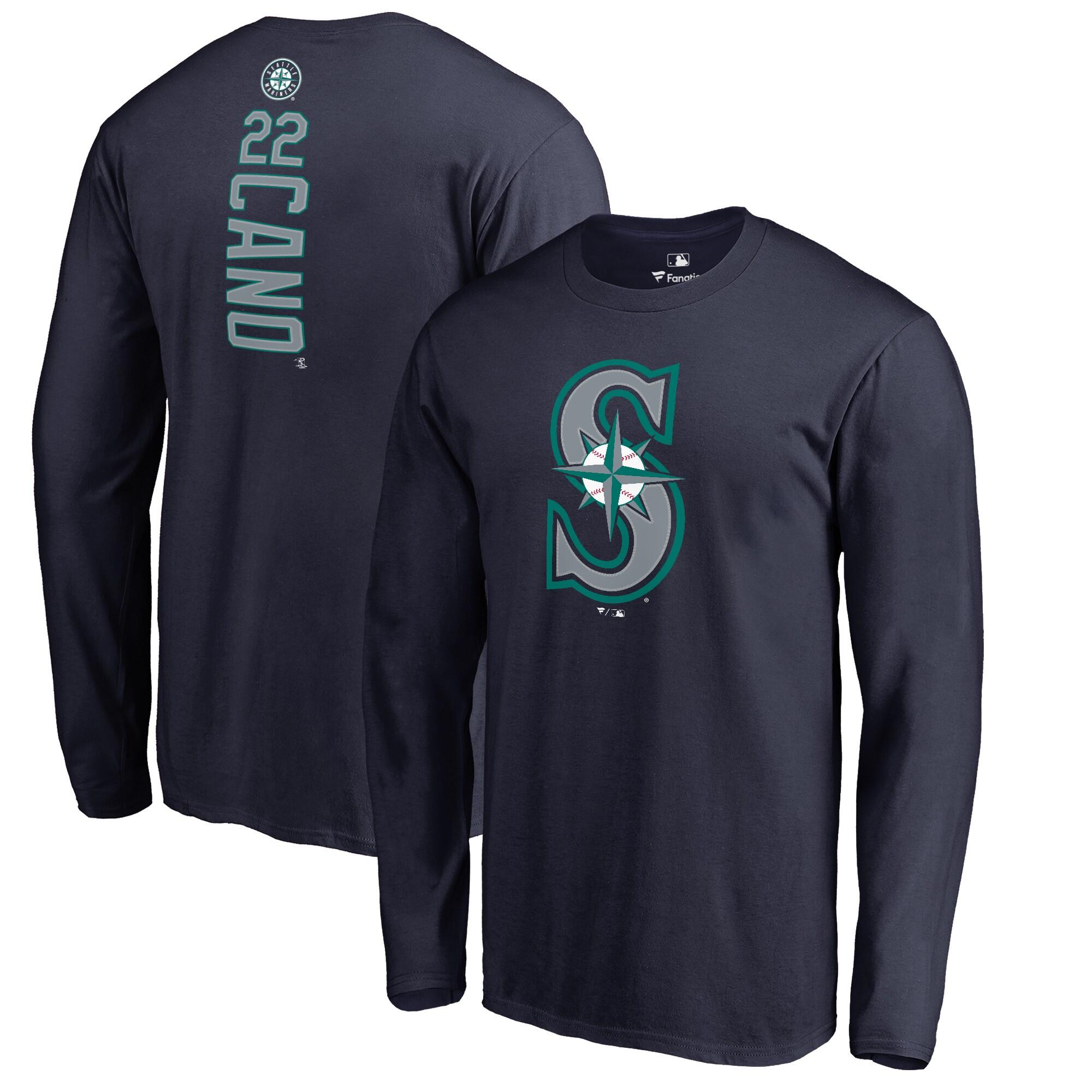 Robinson Cano Seattle Mariners Backer Long Sleeve T-Shirt - Navy