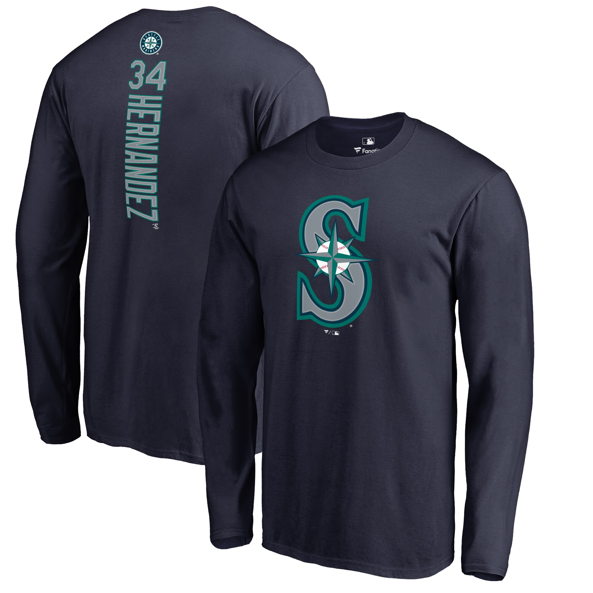 Felix Hernandez Seattle Mariners Backer Long Sleeve T-Shirt - Navy