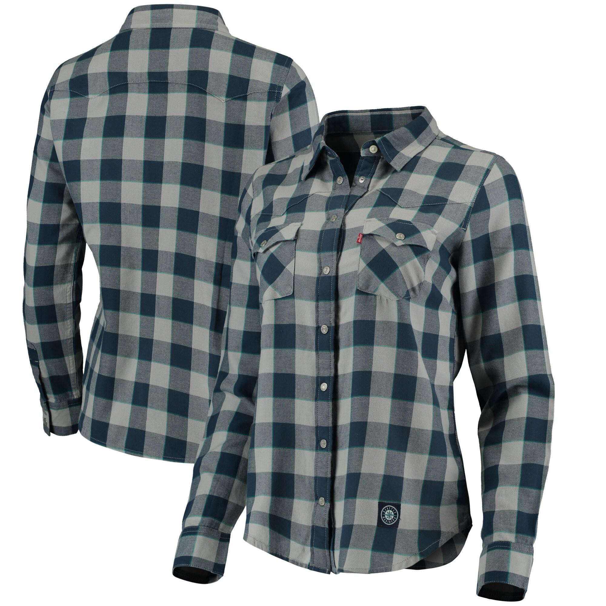 Seattle Mariners Levi's Women's Western Full-Snap Shirt - Navy