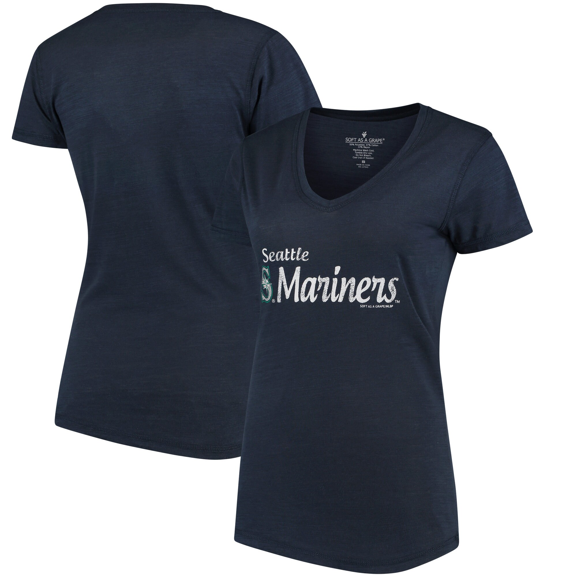 Seattle Mariners Soft As A Grape Women's Double Steal Tri-Blend V-Neck T-Shirt - Navy