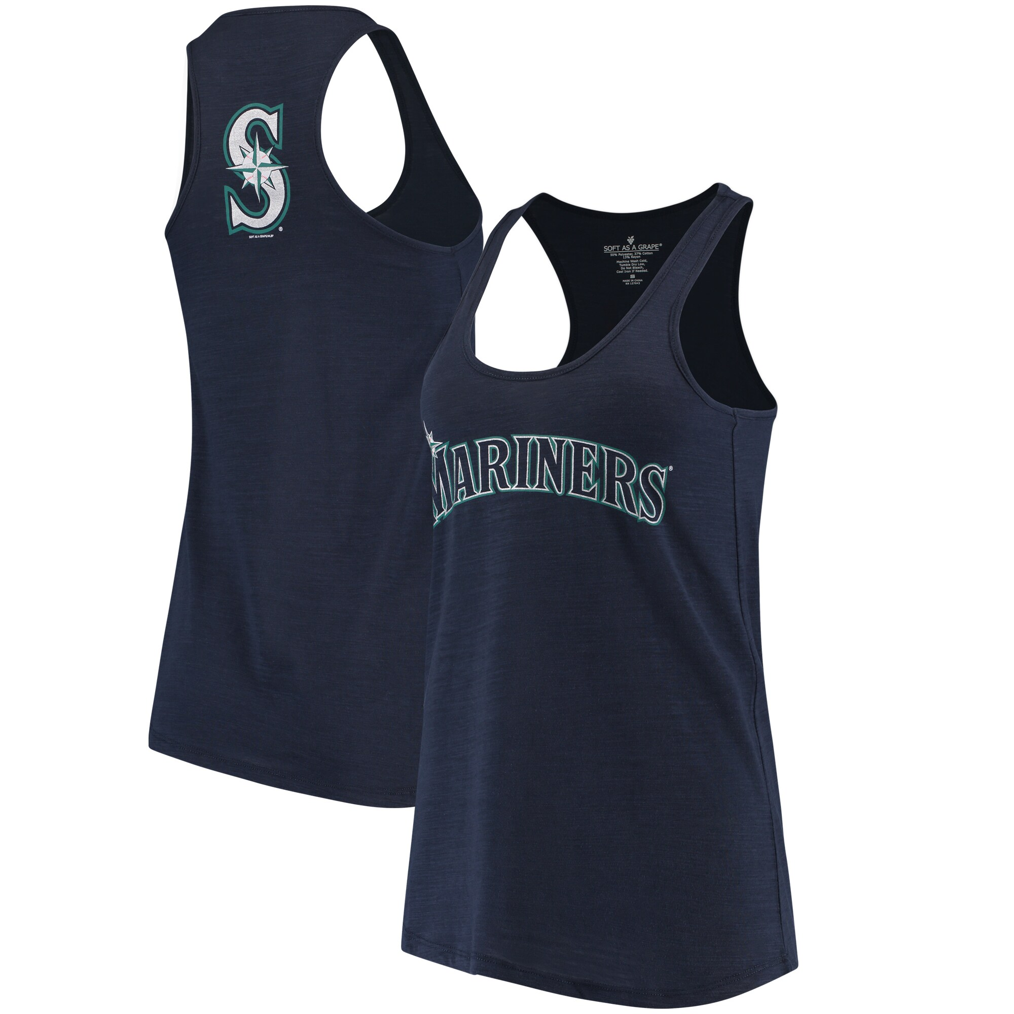 Seattle Mariners Soft As A Grape Women's Front & Back Tri-Blend Racerback Tank Top - Navy