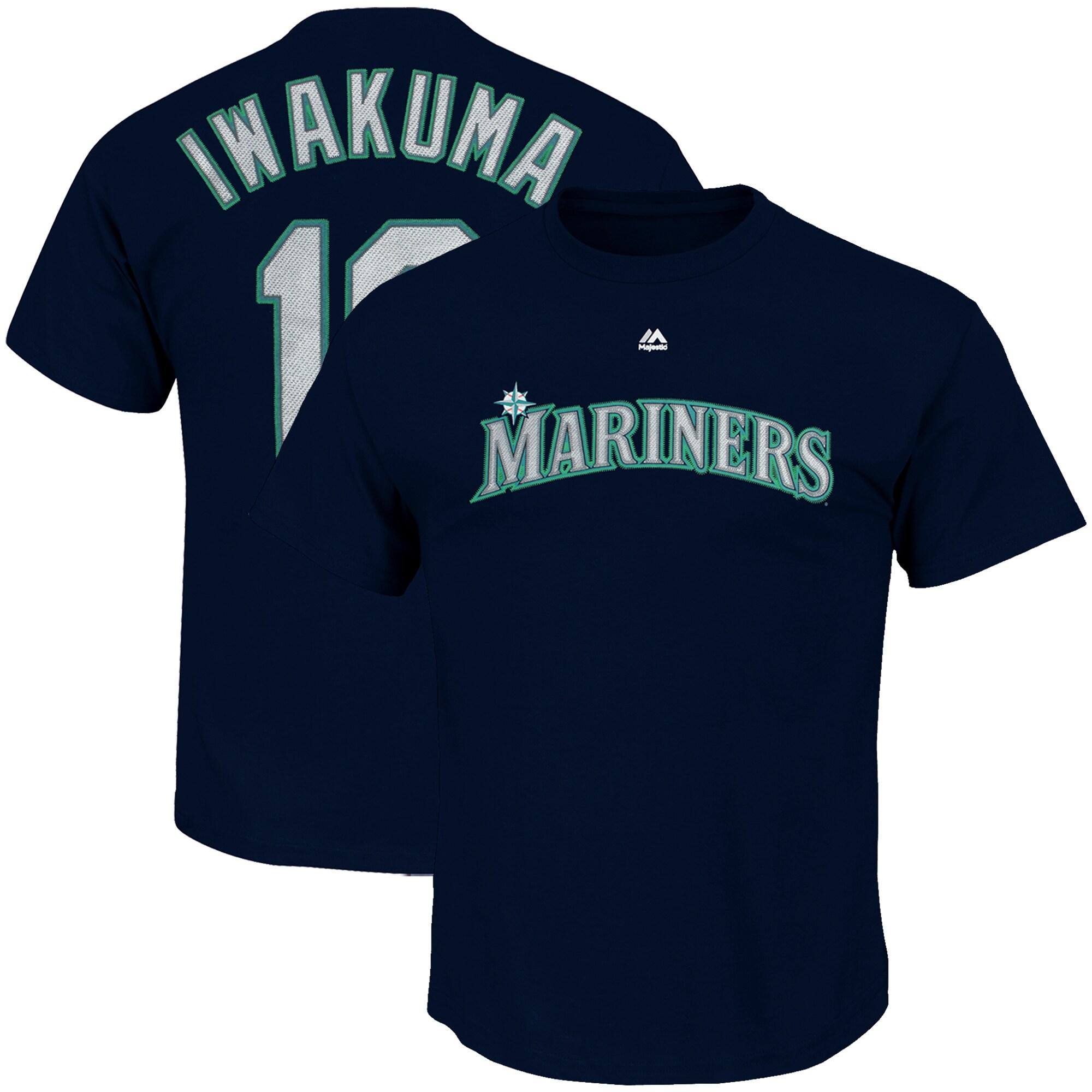 Hisashi Iwakuma Seattle Mariners Majestic Official Name & Number T-Shirt - Navy
