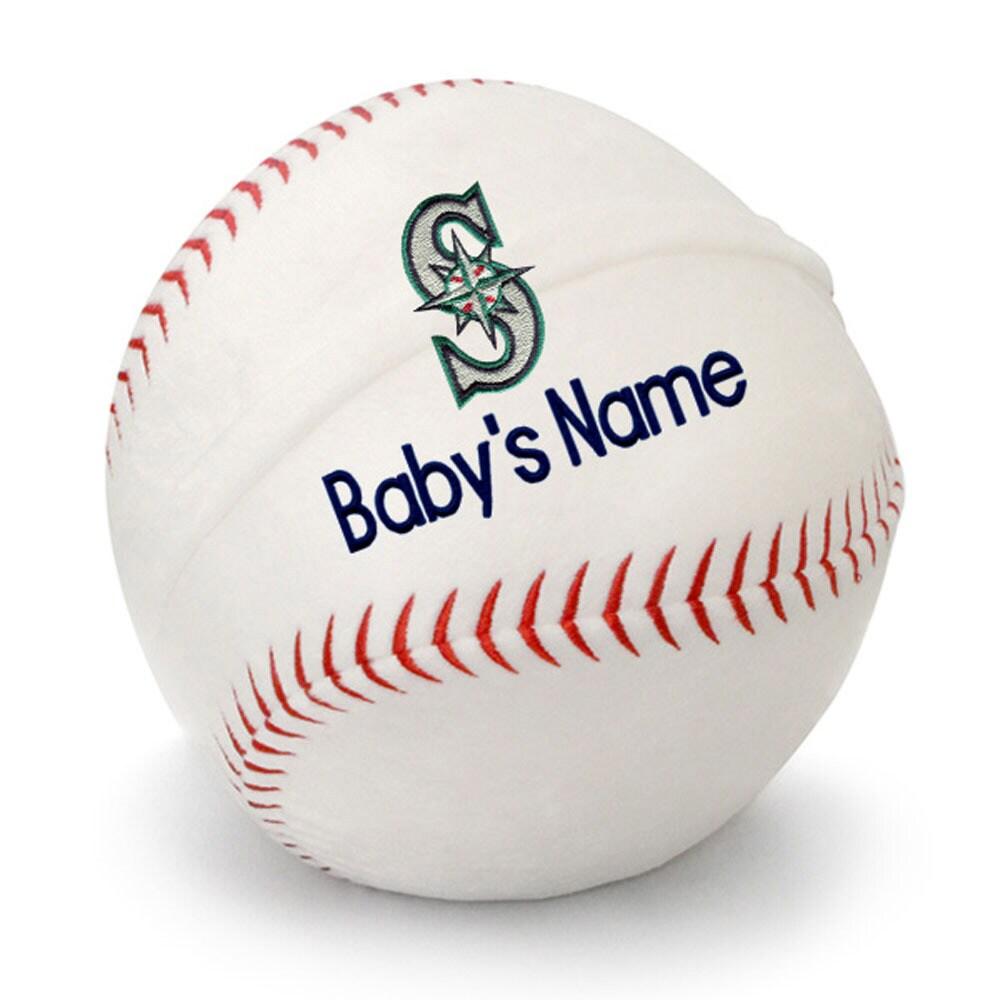 Seattle Mariners Personalized Plush Baby Baseball - White