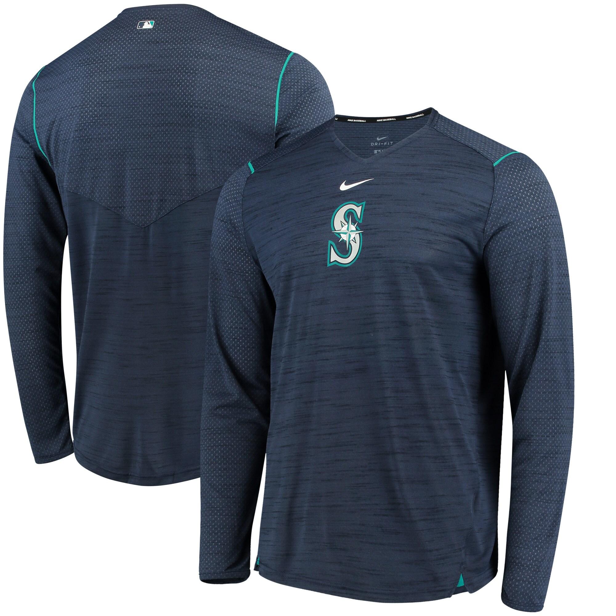 Seattle Mariners Nike AC Breathe Long Sleeve Performance T-Shirt - Navy