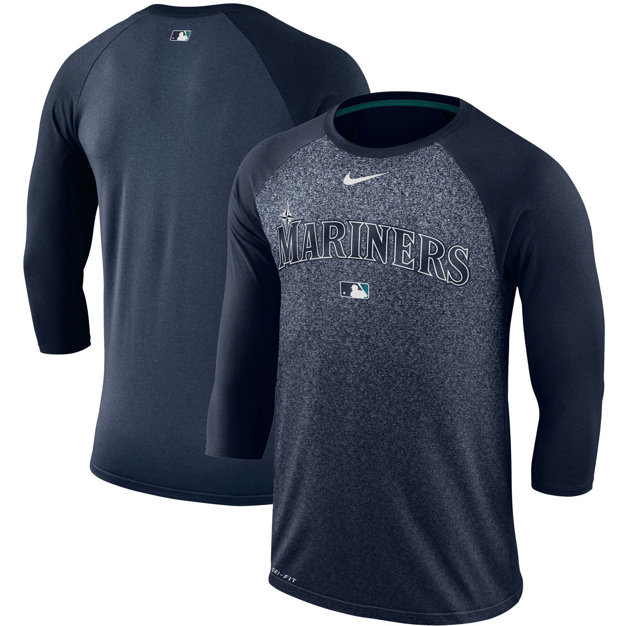 Seattle Mariners Nike Authentic Collection Legend 3/4-Sleeve Raglan Performance T-Shirt - Navy