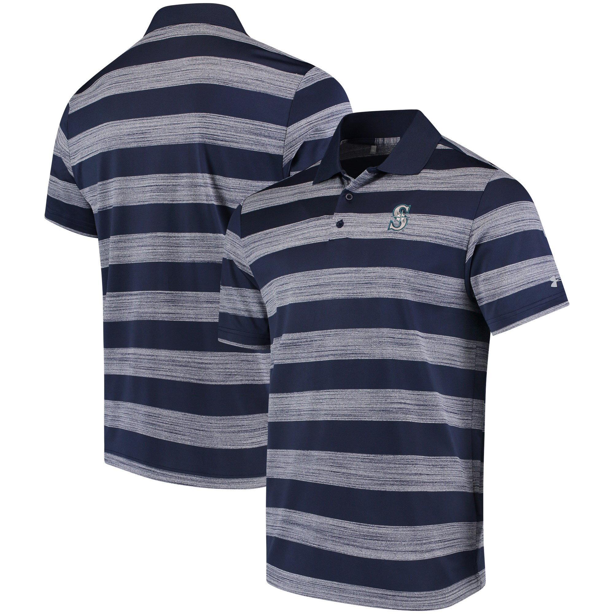 Seattle Mariners Under Armour Skyball Tonal Stripe Polo - Navy