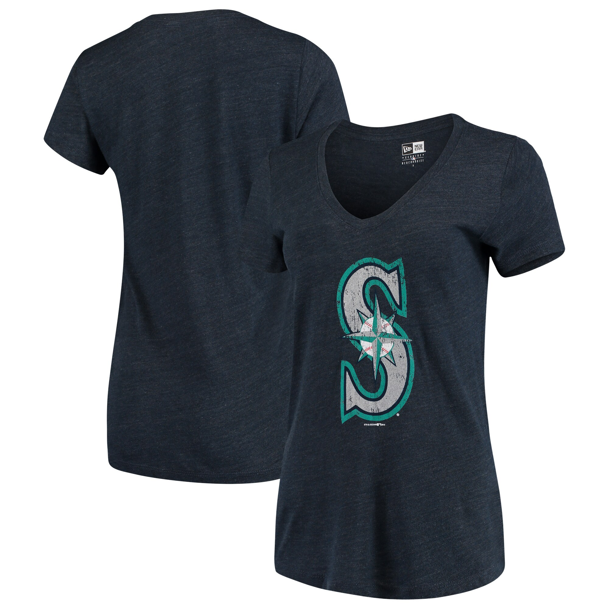 Seattle Mariners 5th & Ocean by New Era Women's Tri-Blend Basic Logo V-Neck T-Shirt - Navy