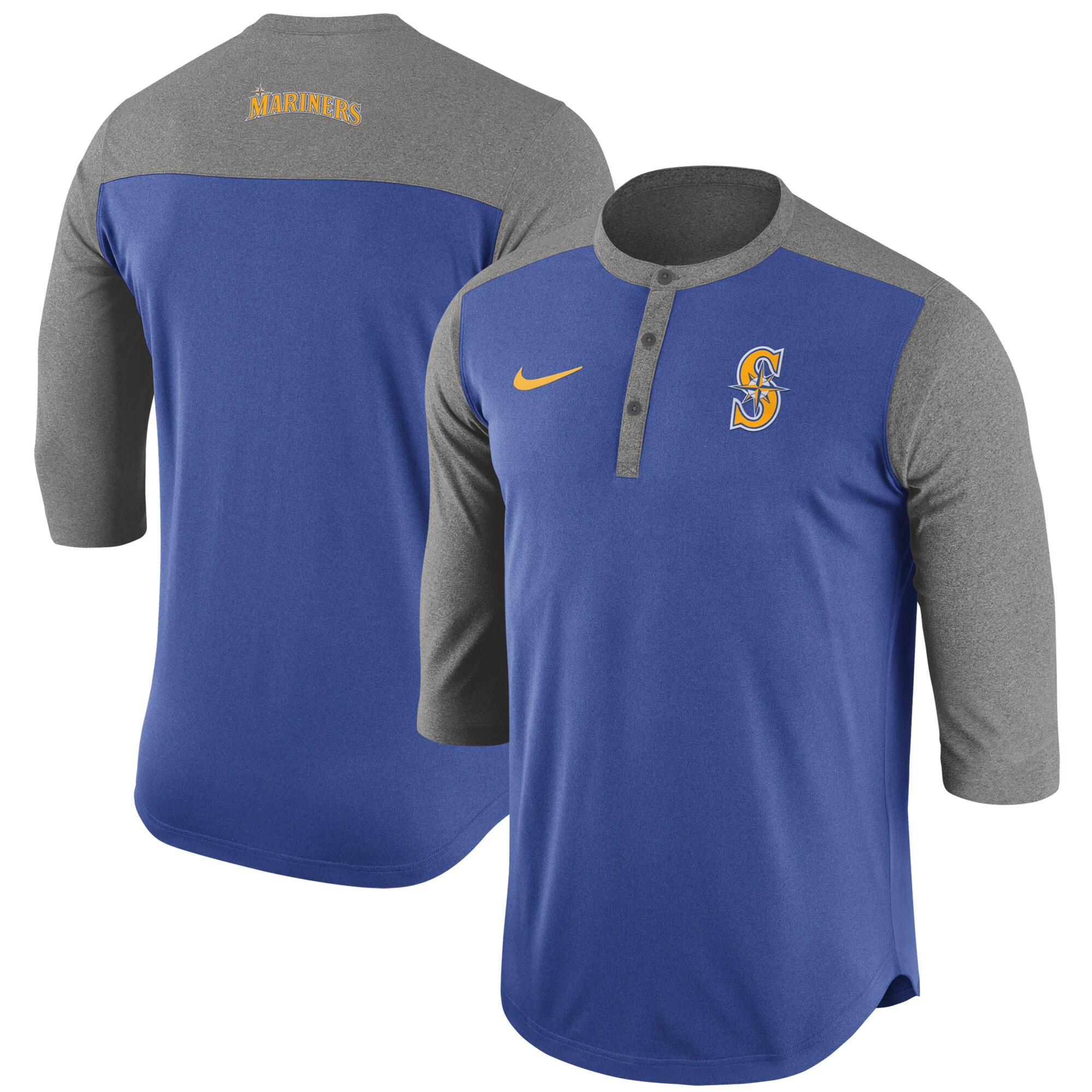 Seattle Mariners Nike Dry Henley 3/4-Sleeve T-Shirt - Royal