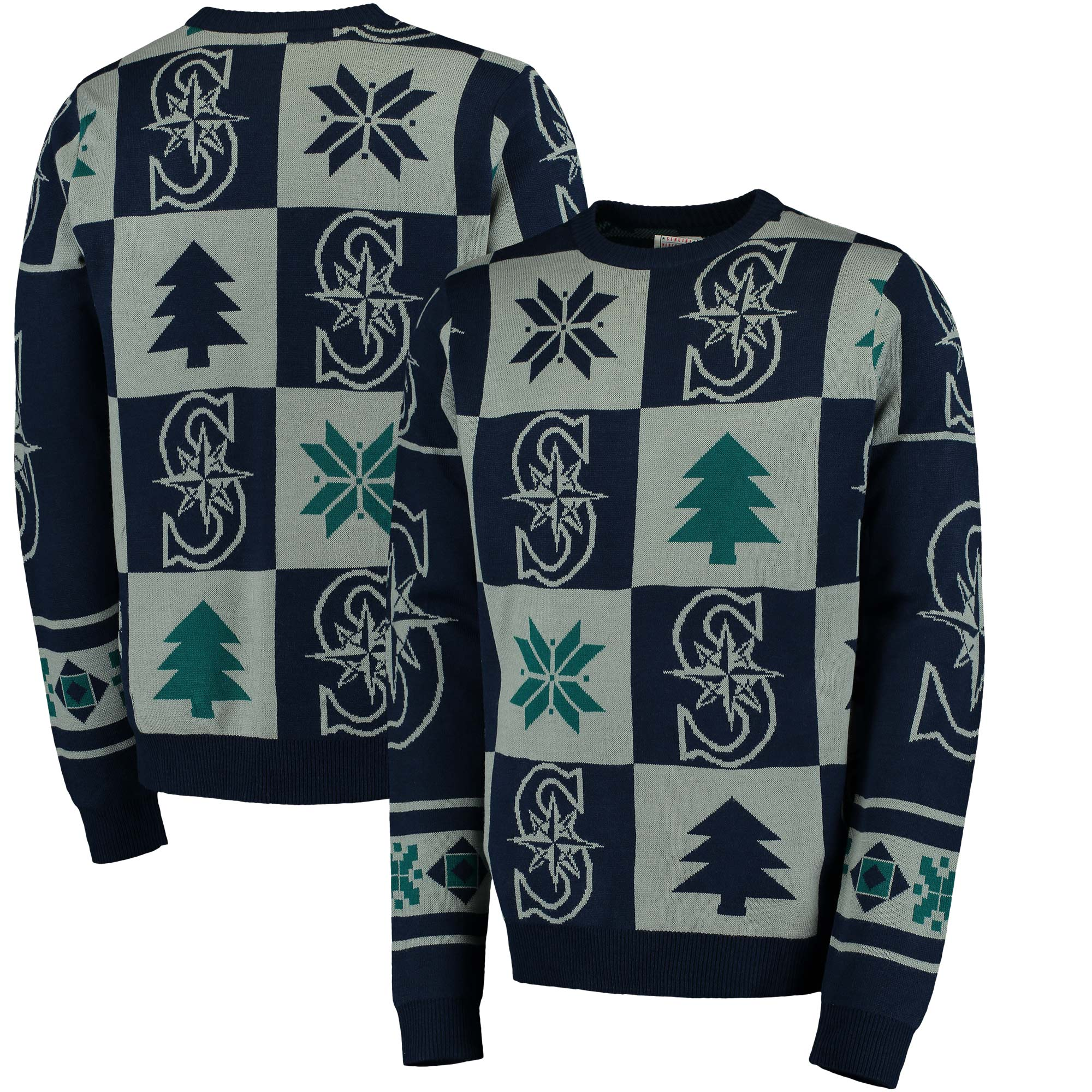 Seattle Mariners Patches Ugly Pullover Sweater - Navy